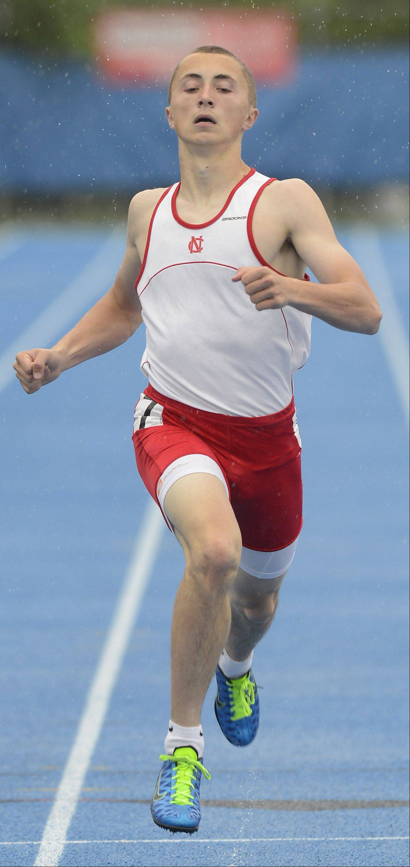 Naperville Central's Sam Bransby heads for the finish line in the Class 3A 400-meter dashduring the boys state track finals in Charleston Saturday.