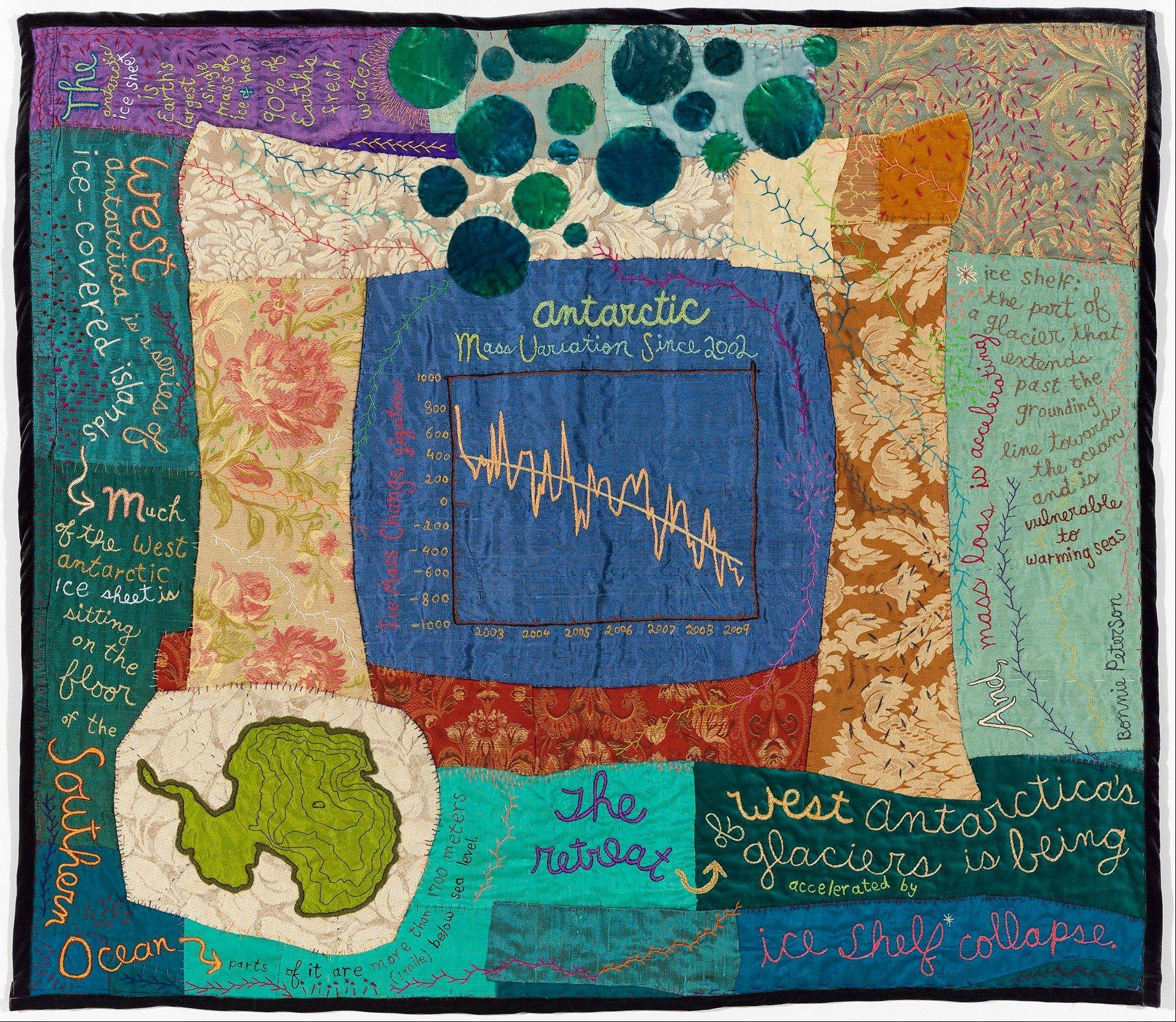 "Bonnie Peterson's ""Accelerating Antarctica"" is part of a textile art show at College of Lake County in Grayslake."