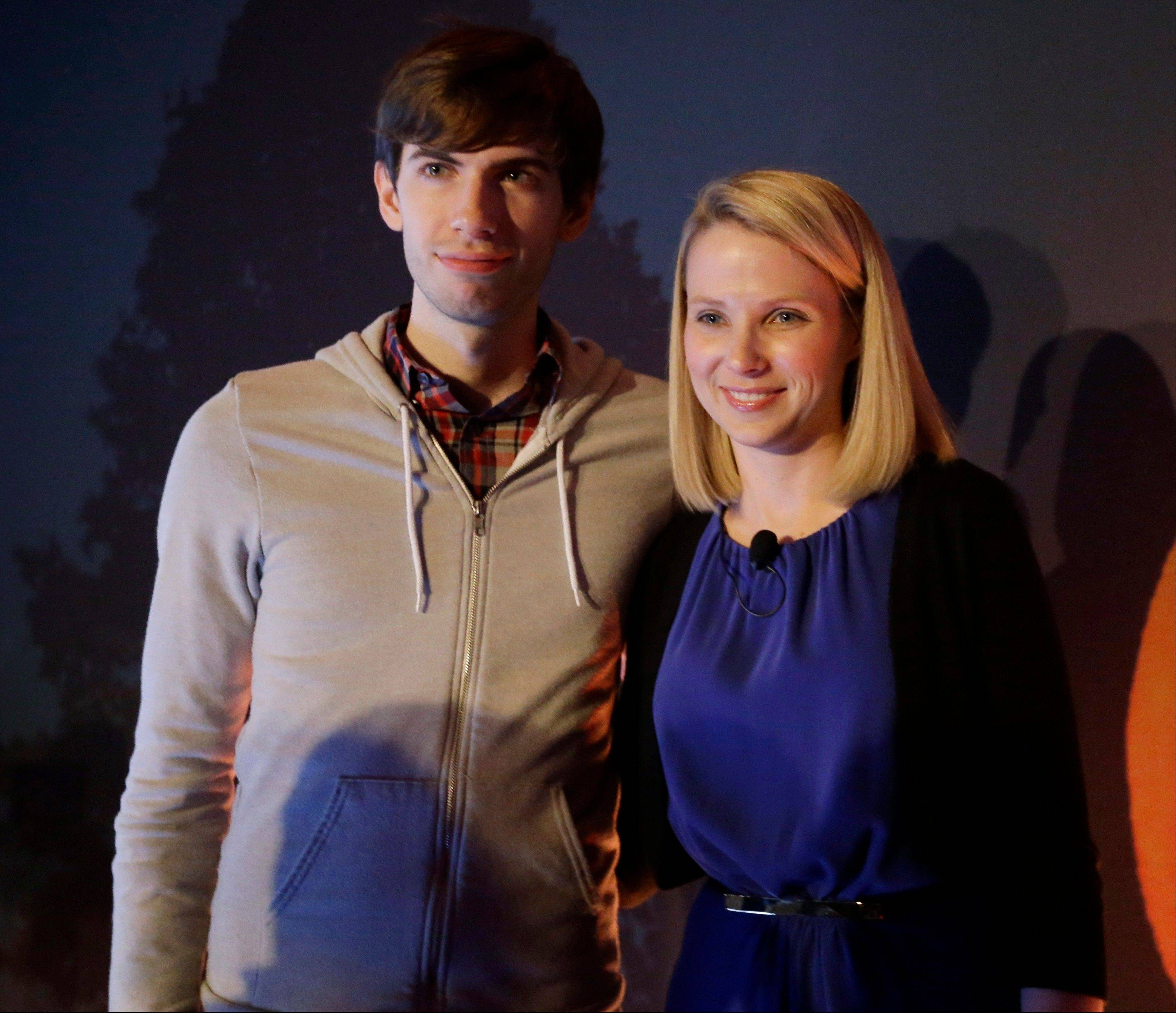 Yahoo CEO Marissa Mayer, and Tumblr Chief Executive David Karp speak during a news conference announcing that Yahoo was buying the online blogging forum Tumblr for $1.1 billion.