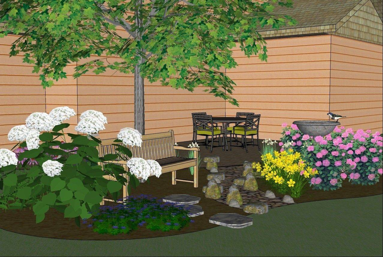 A new planting bed off the existing patio would add color and texture.