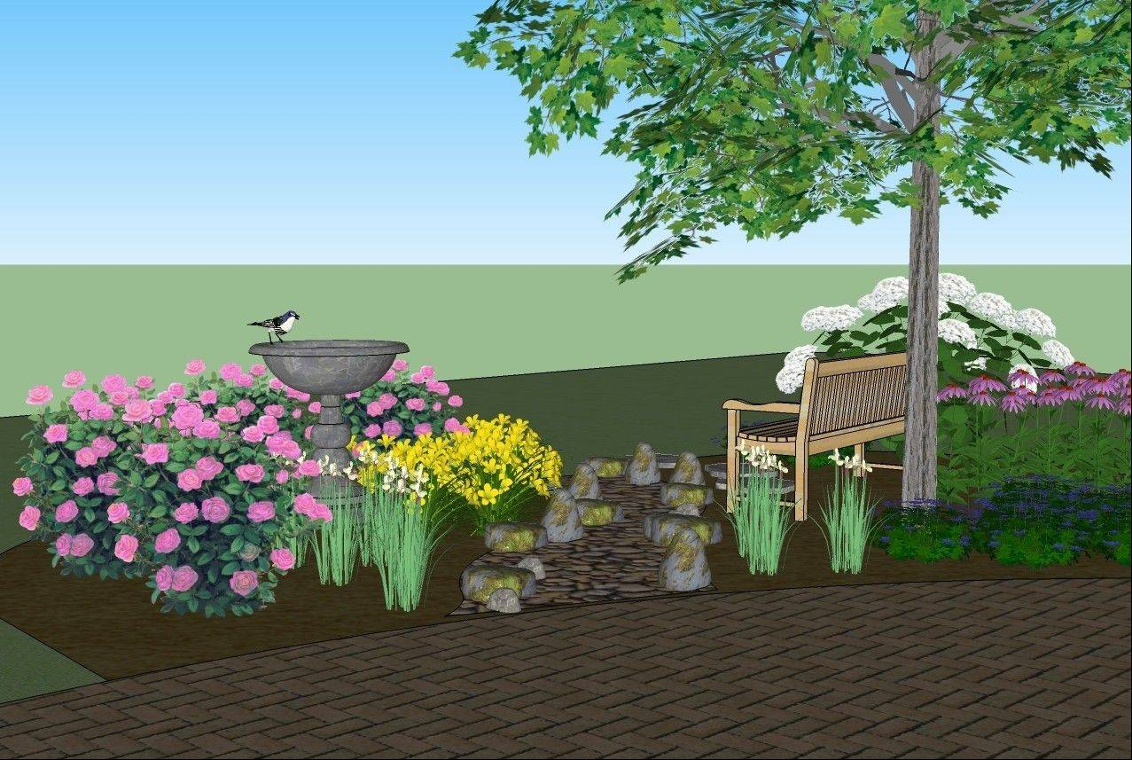 A dry creek bed through the planting bed will help with drainage and tie in with the natural area surrounding the home.