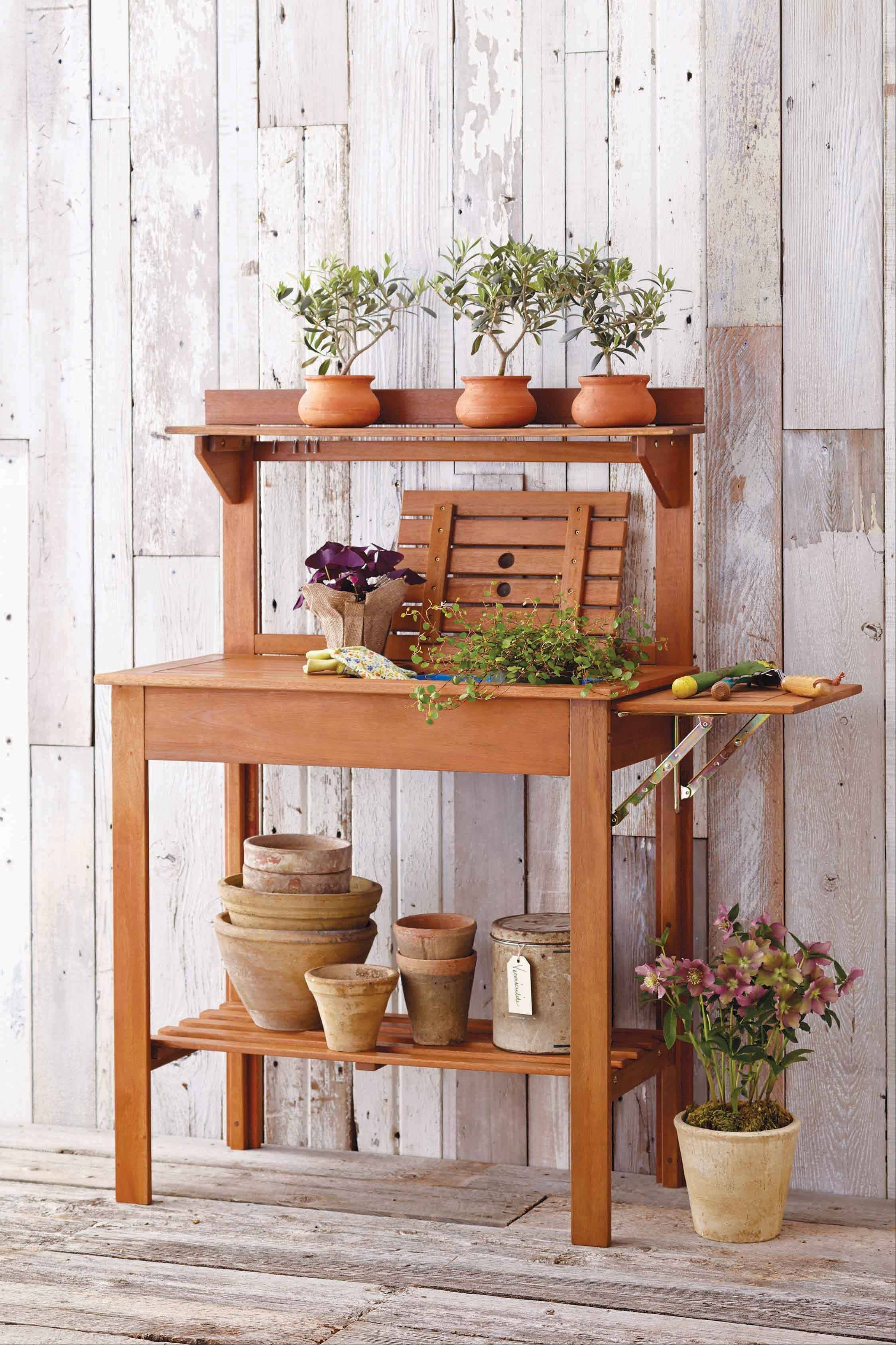 A potting bench can be a useful addition to the right side corner of the house.