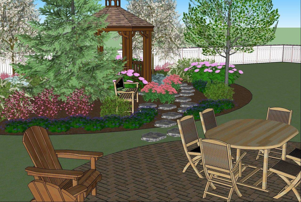 A planting bed, incorporating an existing evergreen tree, could include flowering shrubs, ornamental trees, perennials and grasses.