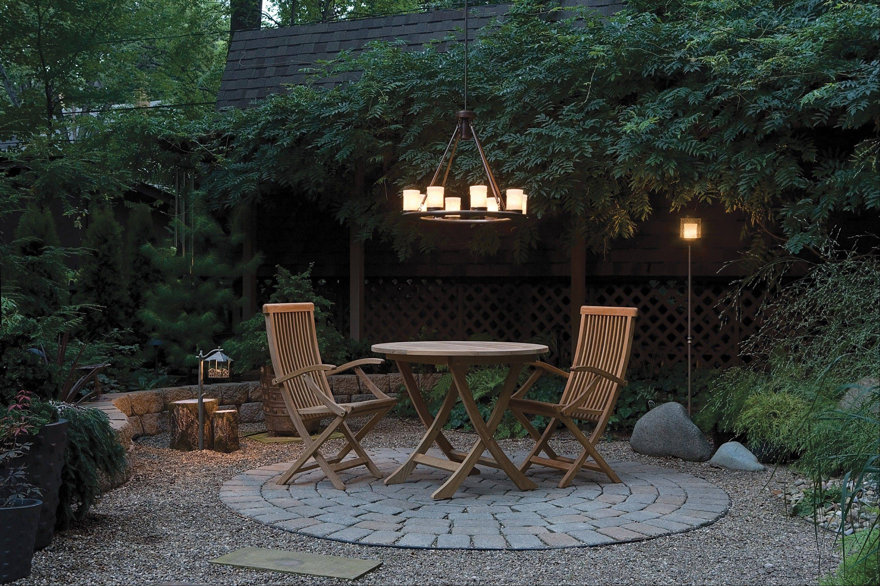 Chandeliers for outdoor dining can be hung from gazebos, pergolas and overhangs.