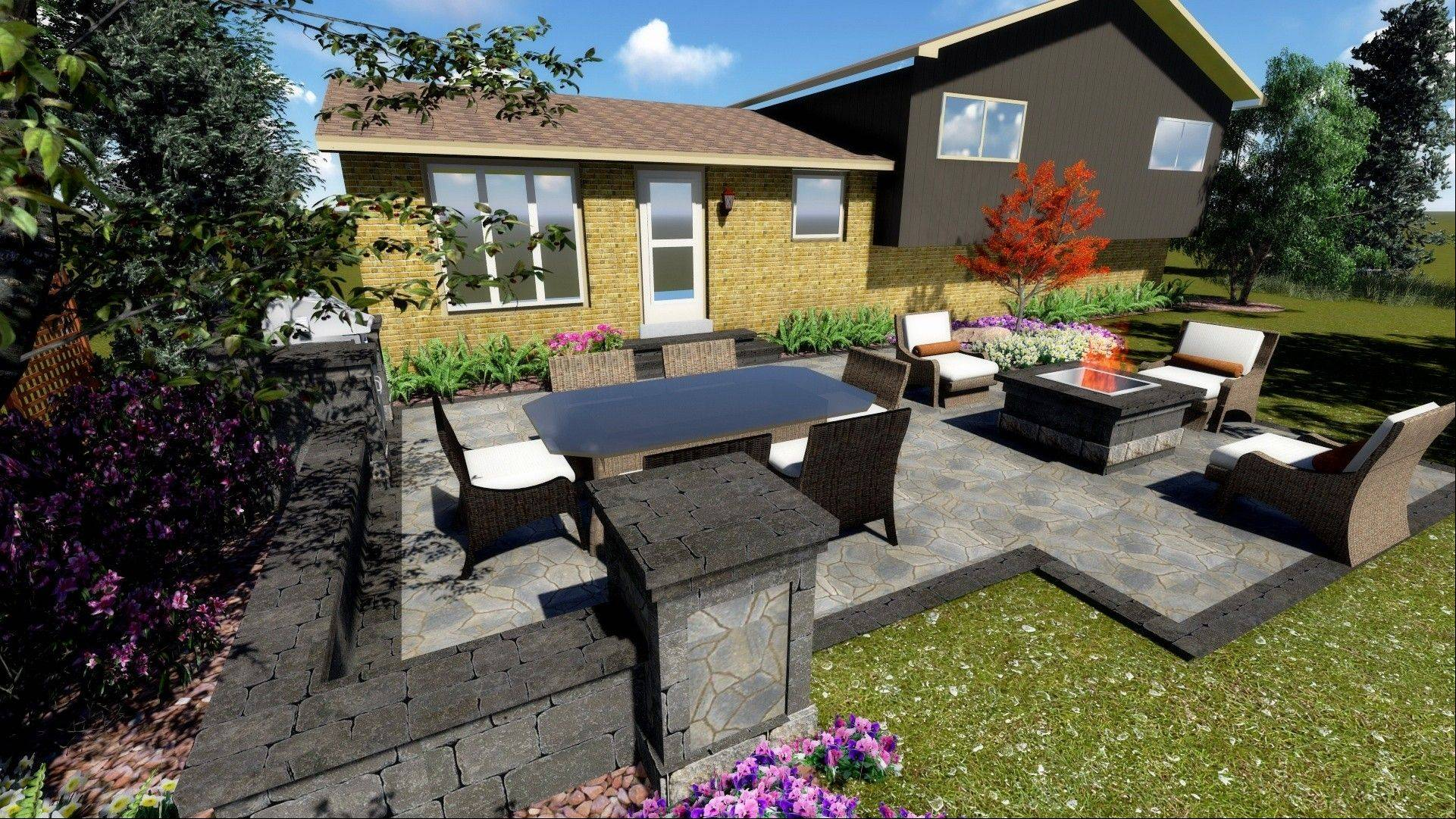 Belgard suggests the homeowner replace the old wooden desk with a Belgard Mega Arbel paver patio with a seat wall, fire pit and grill enclosure.
