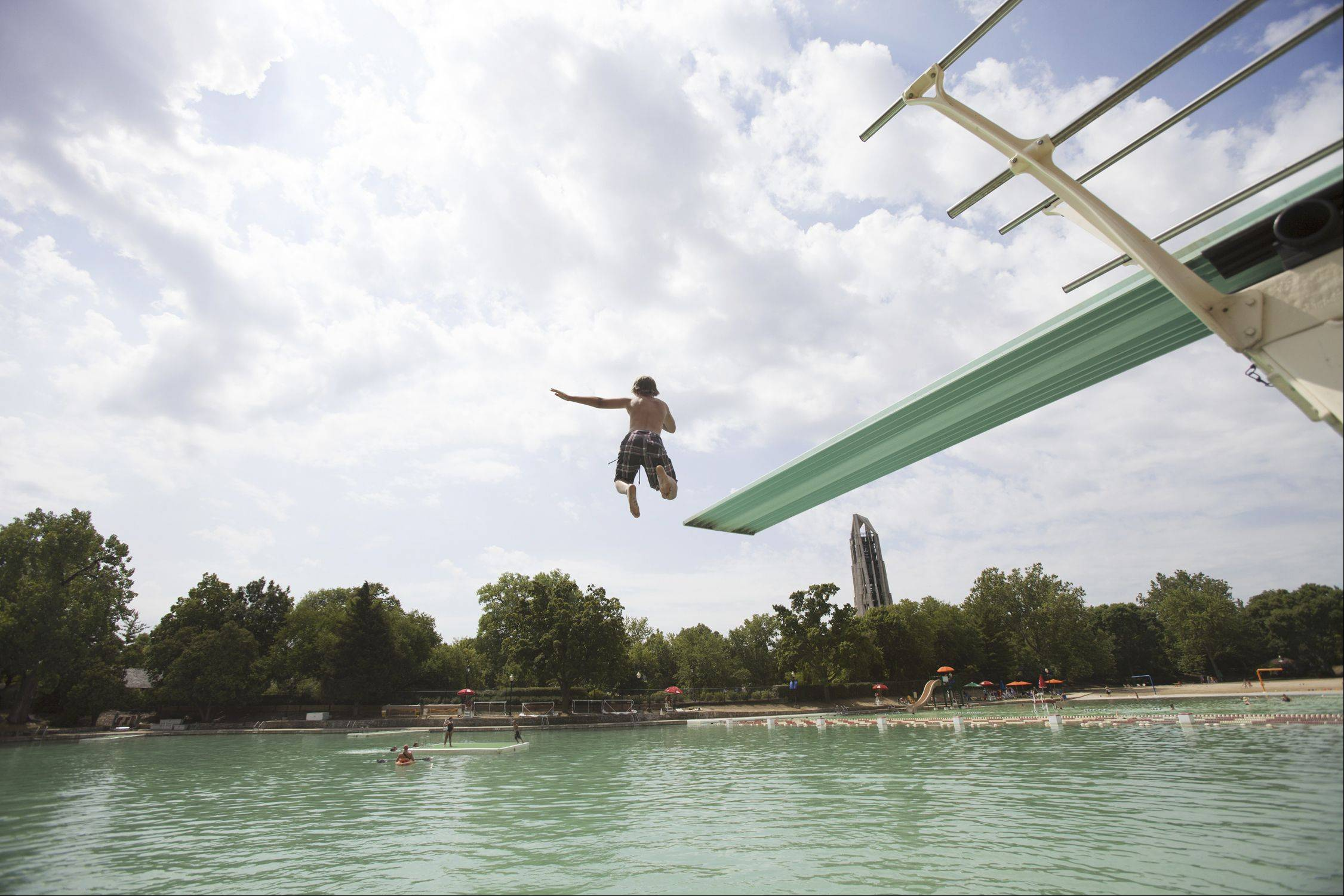 Naperville's Centennial Beach counts diving boards among its amenities.