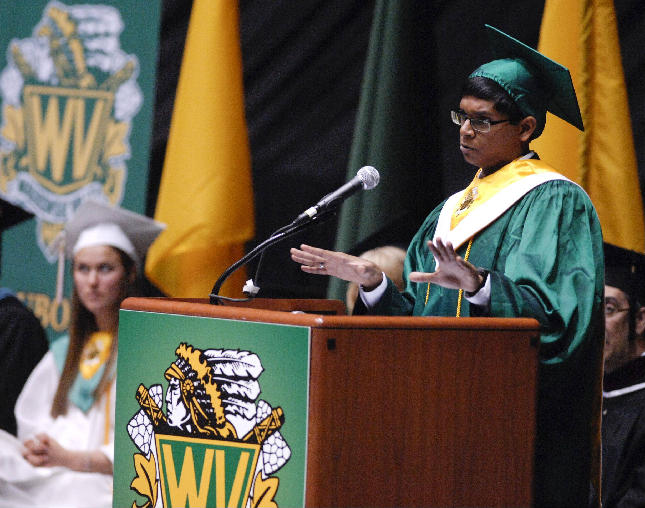 Aneesh Asokan gives the Senior Reflection Address the Waubonsie Valley High School graduation on Sunday, May 26 at the NIU Convocation Center in DeKalb.