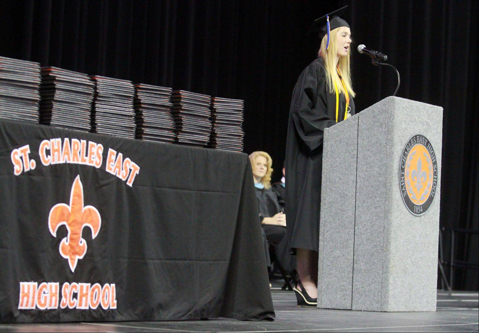 "Graduate Kaitlin Guerin gives a speech titled ""It's Been Real"" at St. Charles East High School commencement ceremony at the Sears Centre in Hoffman Estates on Sunday, May 26, 2013."