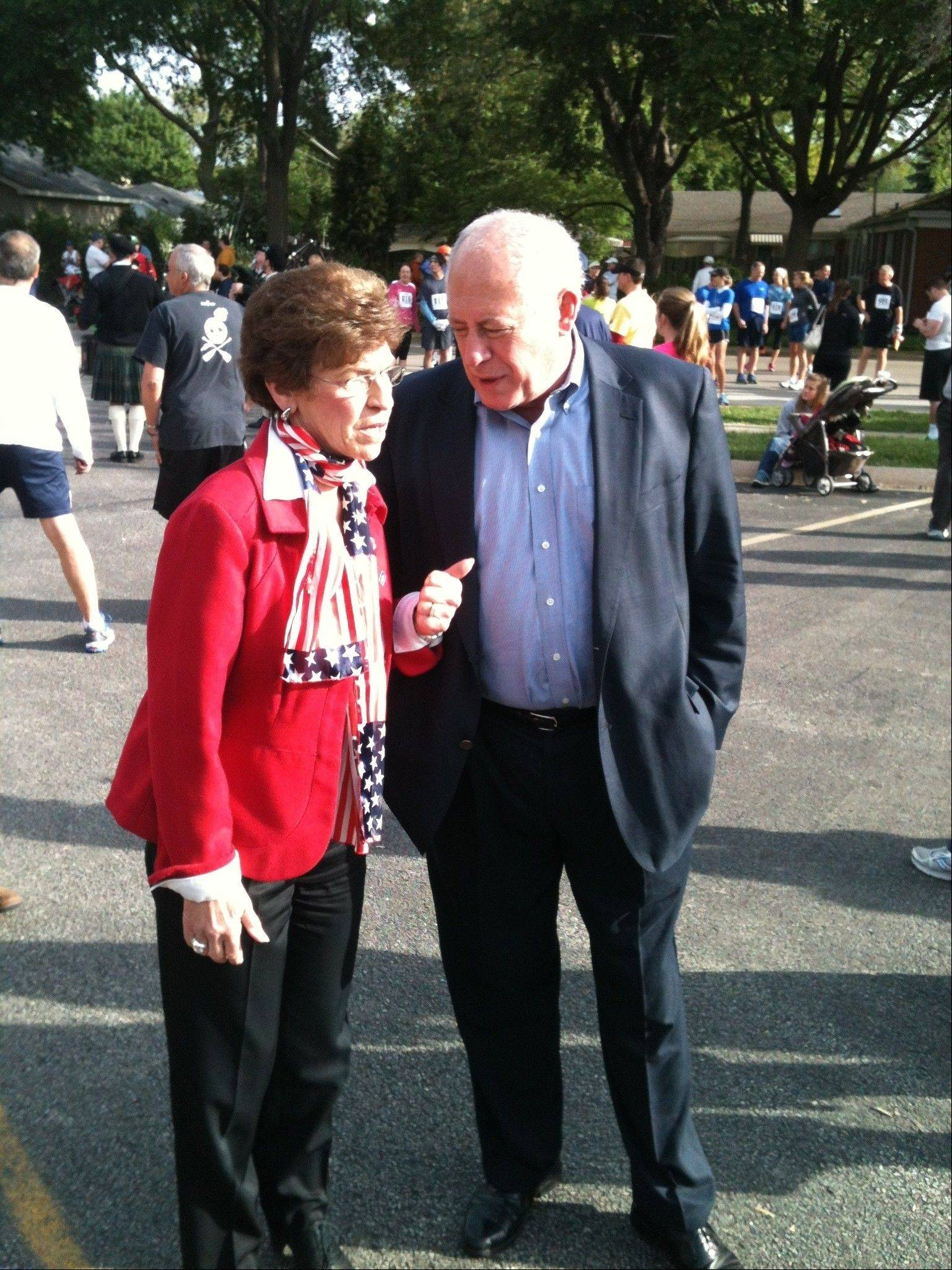 Former Arlington Heights Mayor Arlene Mulder chats with Gov. Pat Quinn before the Got Freedom? run held Sunday in Arlington Heights.