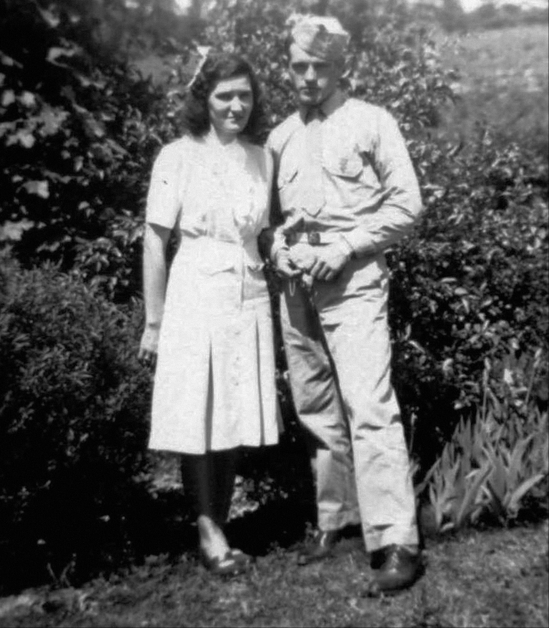 This 1943 photo provided by the family shows James Capps with his wife, Hazel in North Carolina.