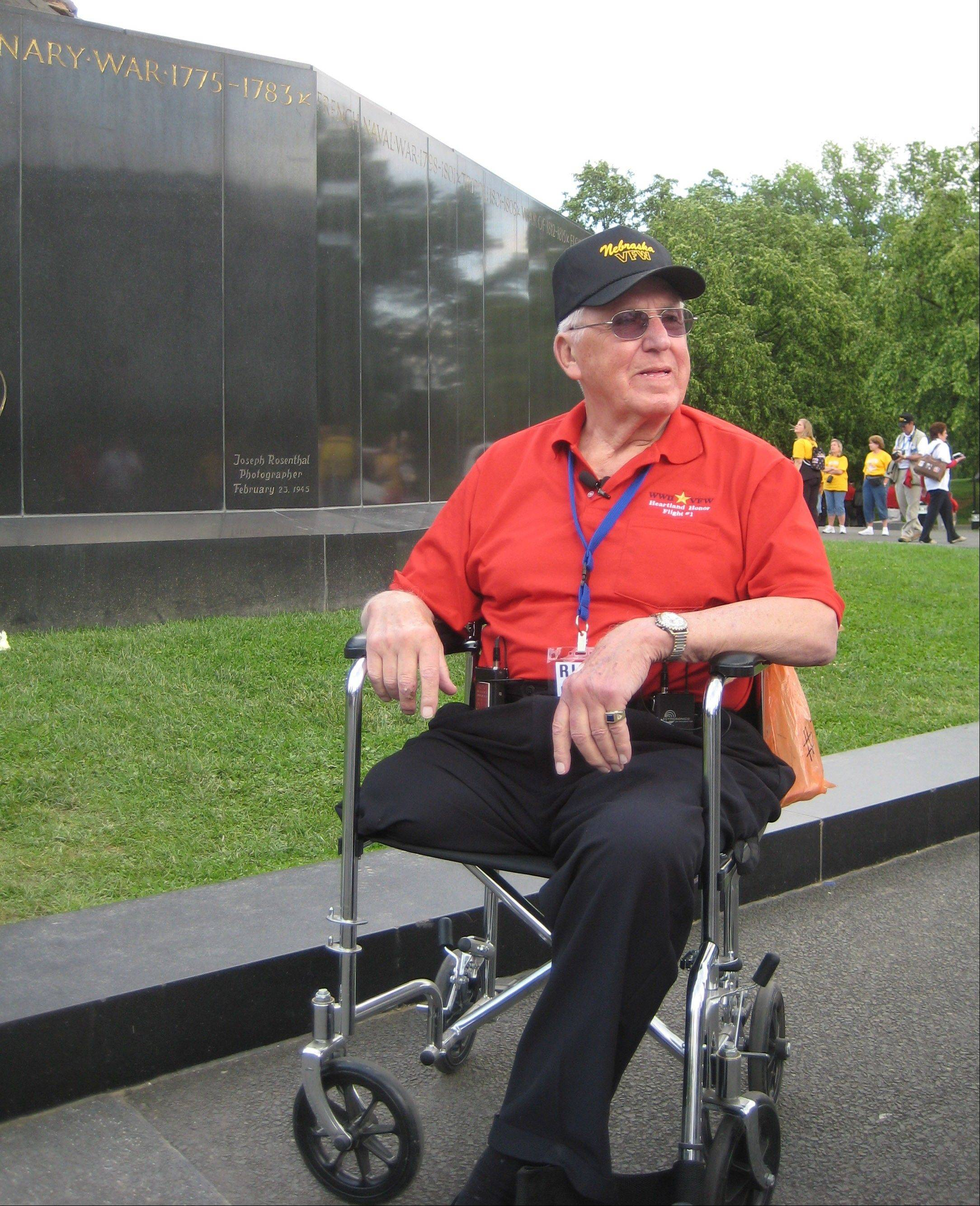 In this May 2008 photo provided by the family, Richard Lang visits the Iwo Jima Memorial in Washington as part of the first Heartland Honor flight that took World War II veterans to Washington.