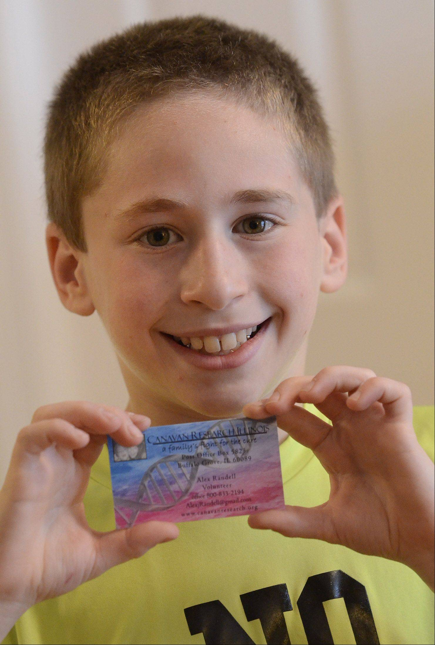 The youngest volunteer with Canavan Research Illinois, 10-year-old Alex Randell was stuffing envelopes as a preschooler and sports his own business cards.
