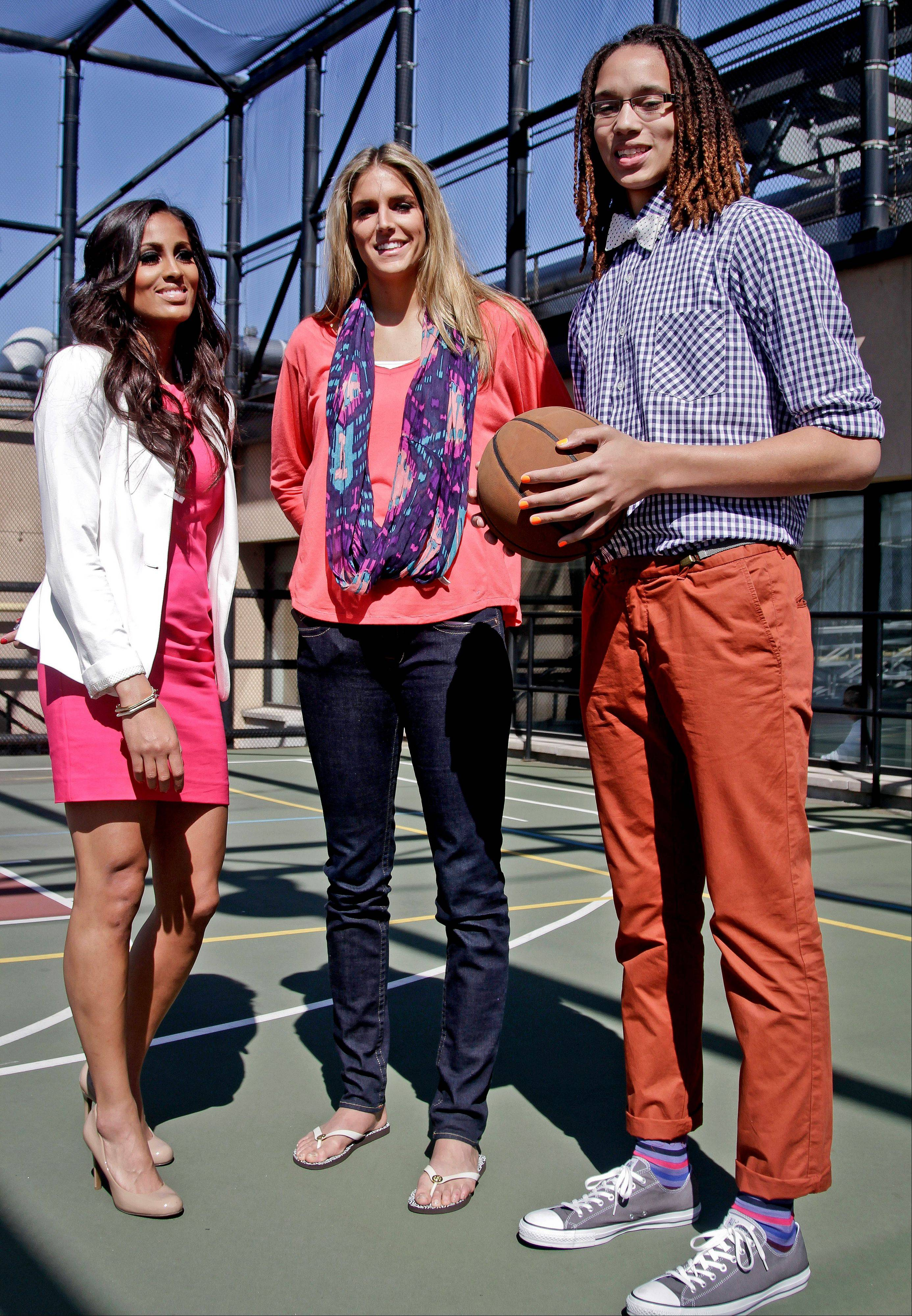 Associated PressThe WNBA is touting Skylar Diggins, left, Elena Delle Donne and Brittney Griner as the '3 to See' this season. Griner, Delle Donne and Diggins were drafted 1-2-3 in April.
