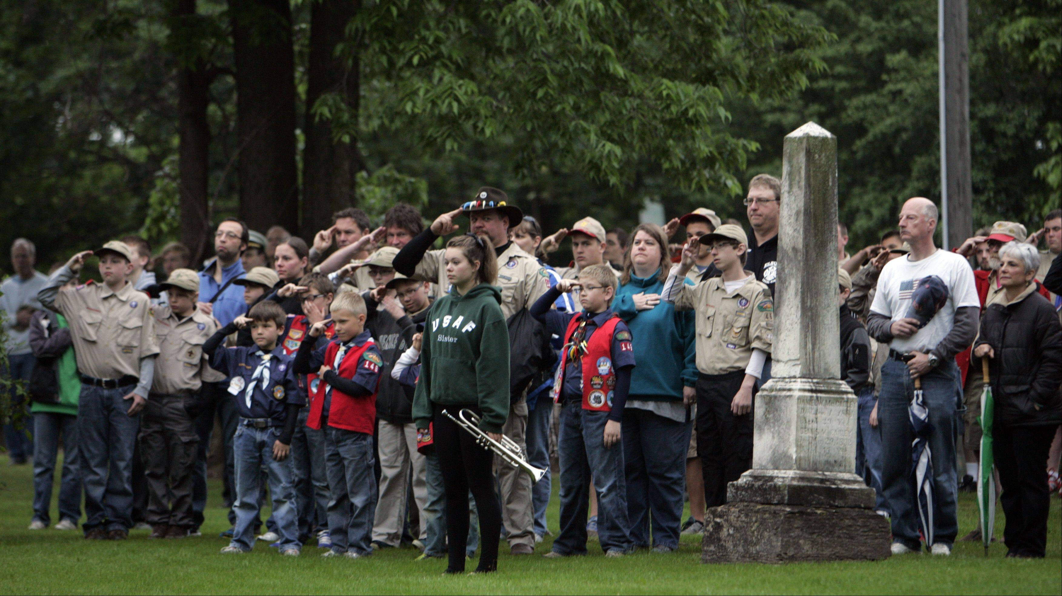 A large crowd turned out for the Memorial Day celebration at South Cemetery in St. Charles early Monday morning.
