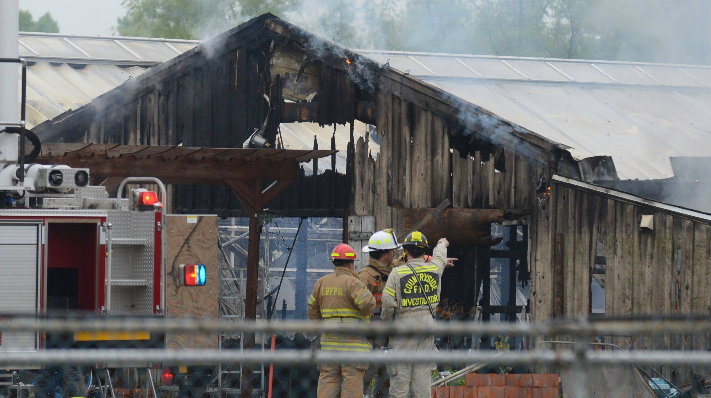 Fire damaged multiple buildings Monday at the former Jamaican Gardens nursery on Route 176 in Libertyville.