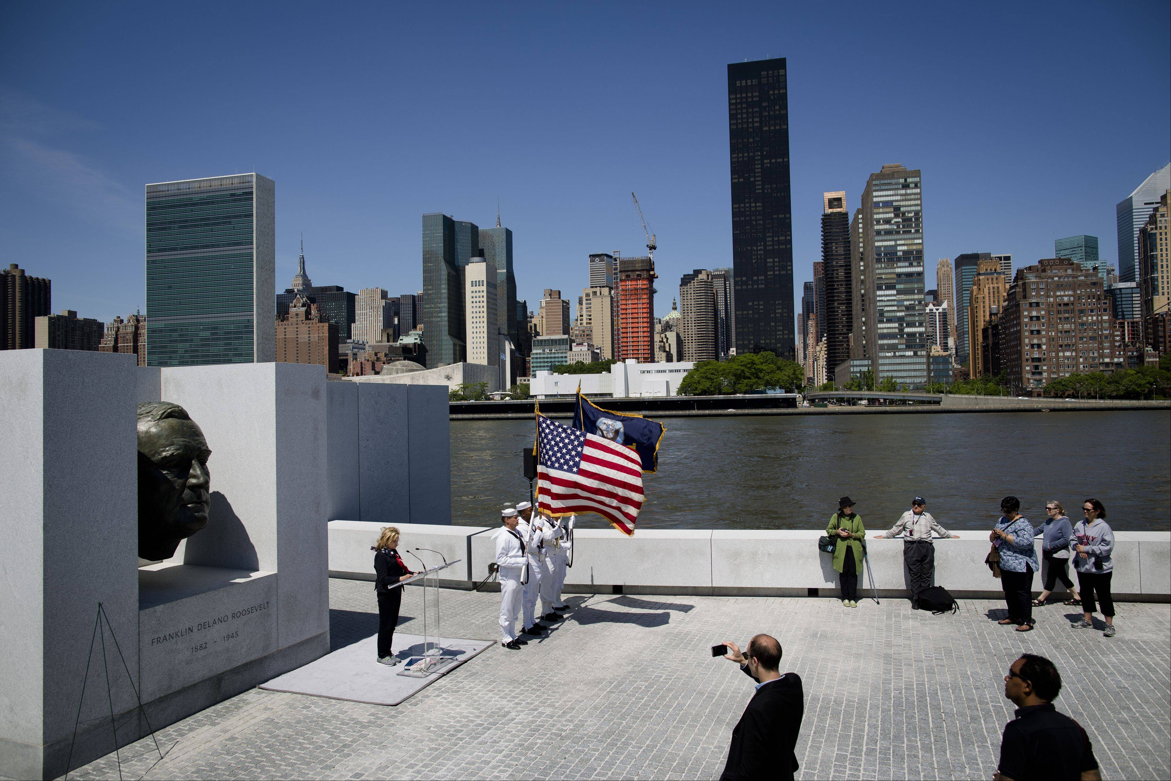 New York congresswoman Carolyn Maloney speaks during a Memorial Day wreath laying at the Franklin D. Roosevelt Four Freedoms Park on Roosevelt Island, Monday, May 27, 2013, in New York.