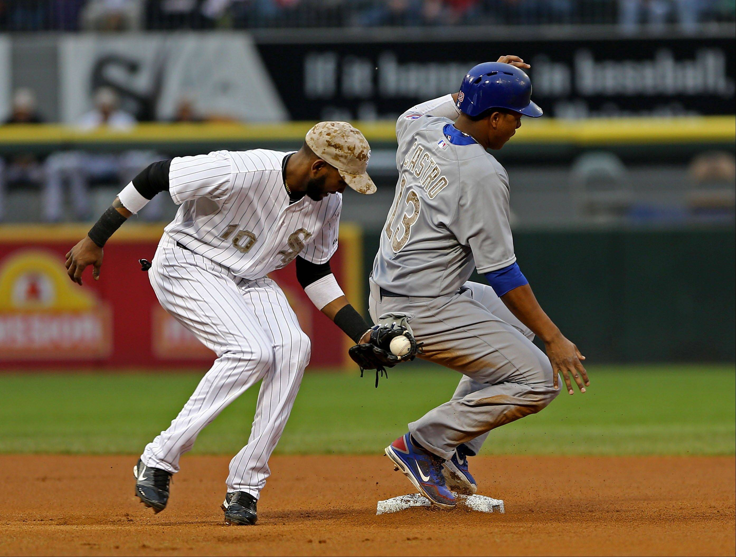 The Cubs' Starlin Castro steals second base in the first inning Monday night after White Sox shortstop Alexei Ramirez was late getting over. The Cubs ended up with a run because of the miscue, and, for the Sox, it was all downhill after that.