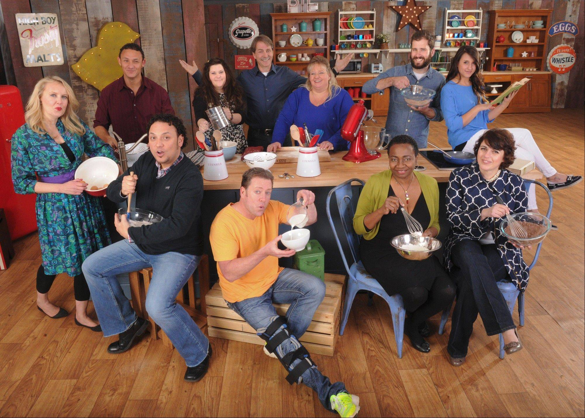 "The 10 bakers competing in CBS' new competition reality series ""The American Baking Competition"" are: Brian Emmett (center with knee brace), Carlo Fuda, clockwise from top, Darlene Pawlukowsky, Jeremy Cross, Kolette Biddle, host Jeff Foxworthy, Francine Bryson, James Reddick, Whitney Appleton Beery, Effie D. Sahihi and Elaine Francisco."