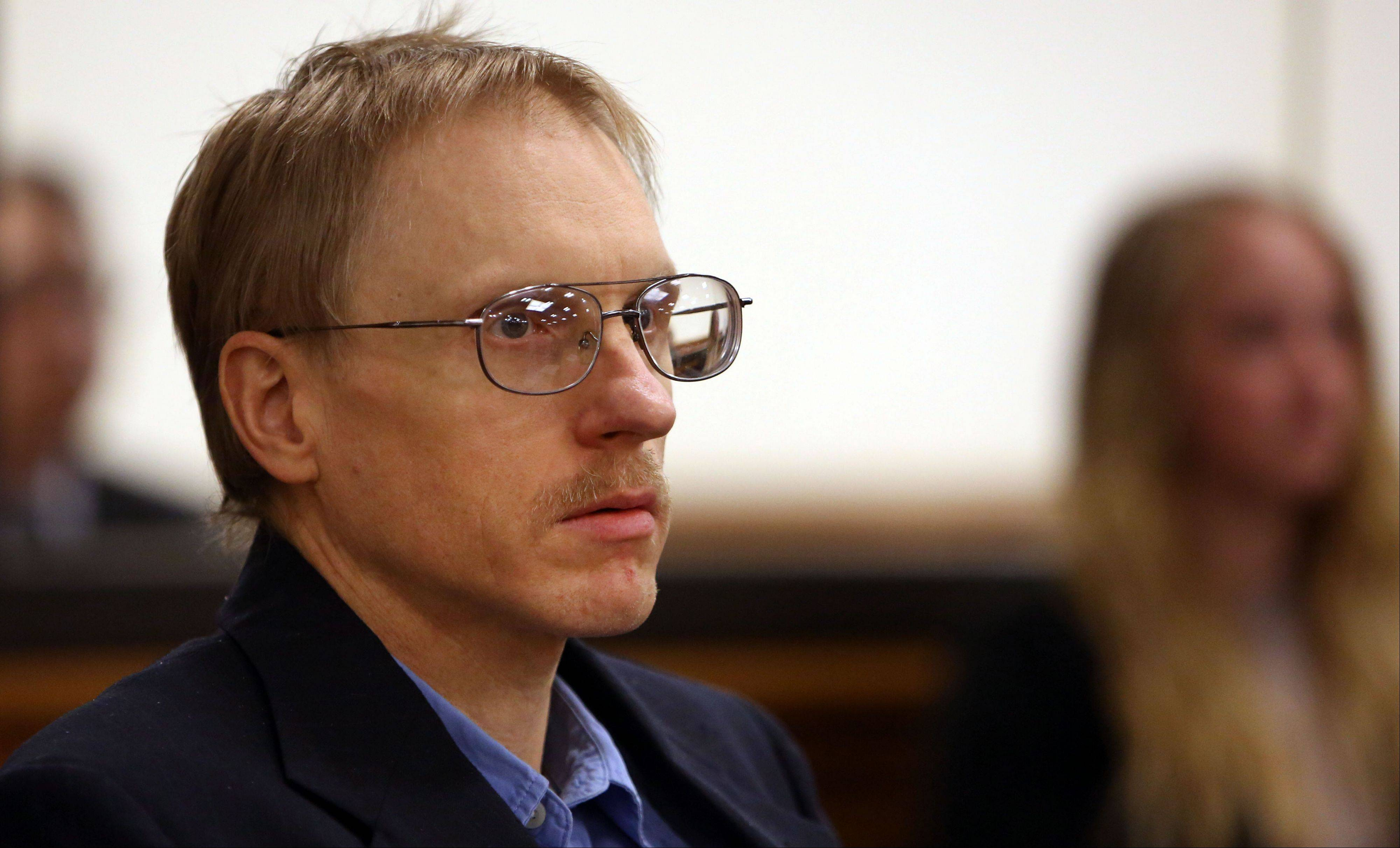Ronald Stolberg listens to the jury read their verdict after being convicted of involuntary manslaughter in the 2011 death of his wife, Rachel Stolberg, in the courtroom of Judge Mark Levitt in Lake County on Tuesday, May 28, 2013, in Waukegan.