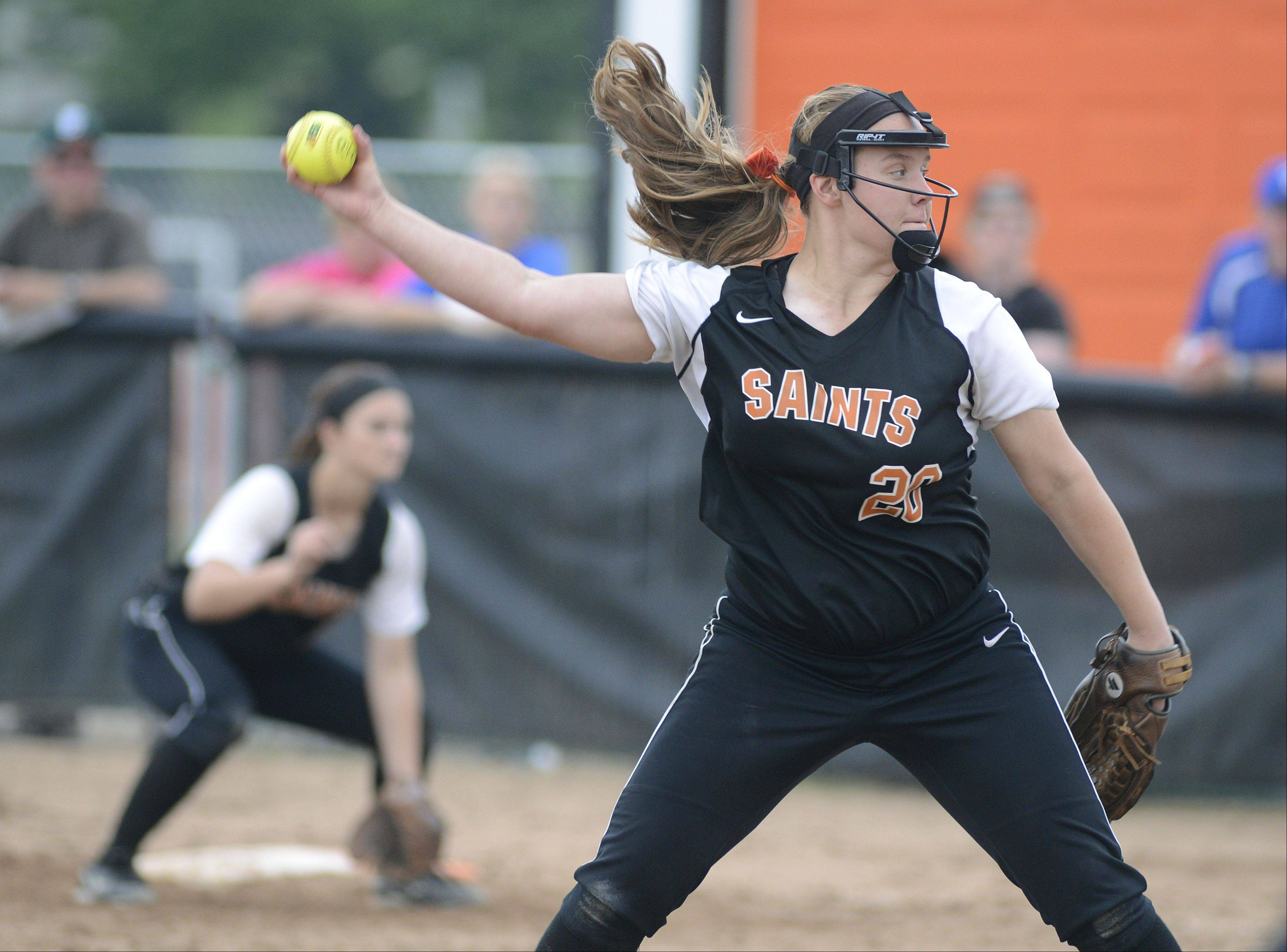 St. Charles East pitcher Haley Beno in the Class 4A sectional on Tuesday.