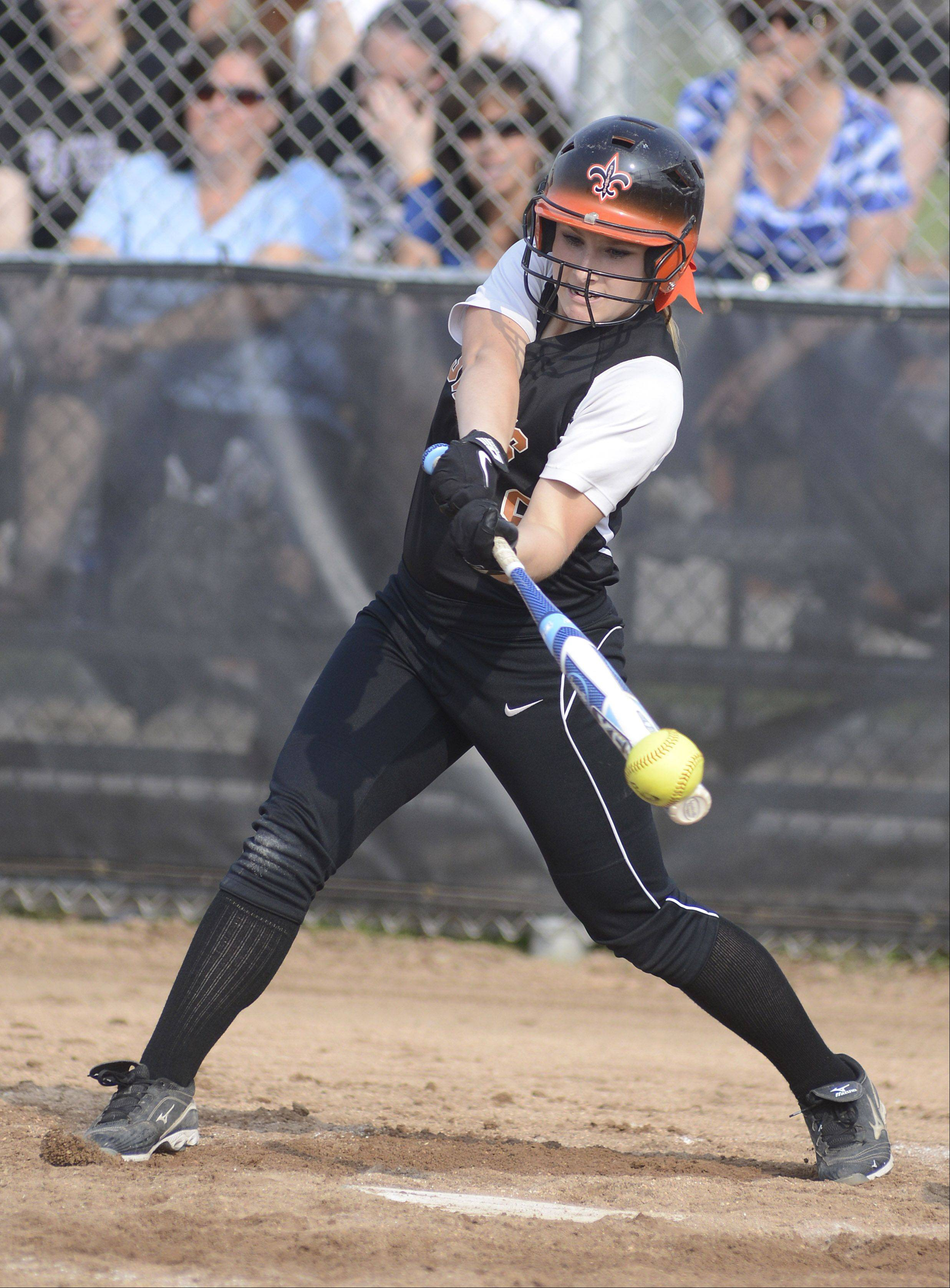 St. Charles East's Sarah Collaiti smacks the ball in the fifth inning of the Class 4A sectional on Tuesday.