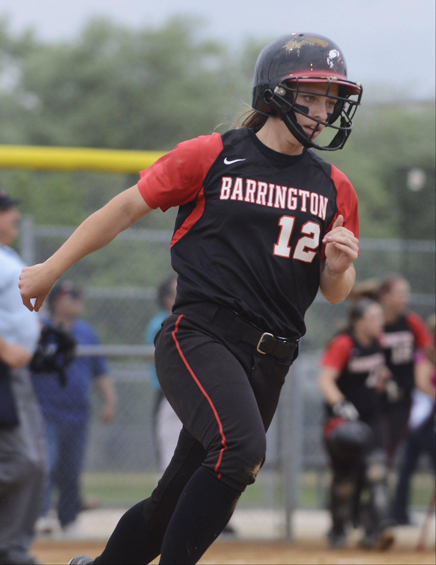 Barrington's Loren Krzysko rounds the bases after hitting a home run against Fremd during the Rolling Meadows sectional semifinal Tuesday.