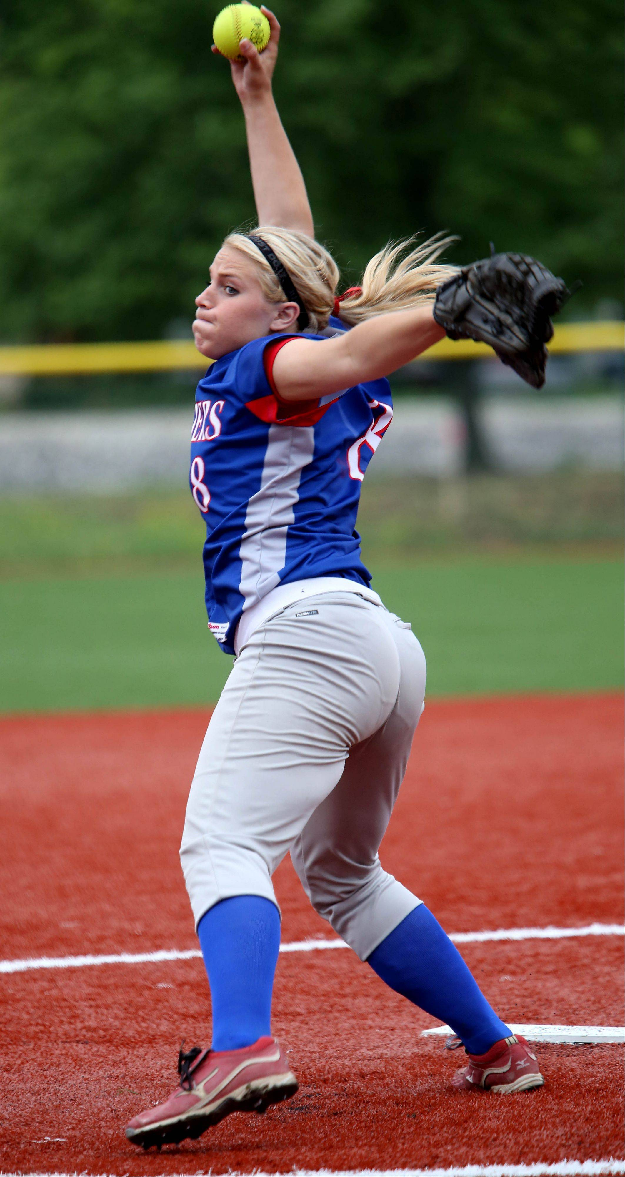 Stephanie Chitkowski of Glenbard South winds up her pitch against Evergreen Park in Class 3A sectional semifinal softball action on Tuesday in La Grange.