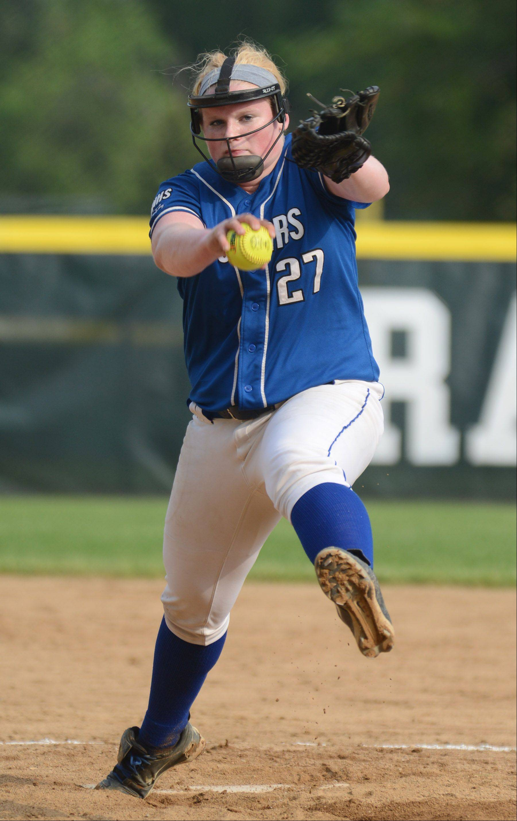 Vernon Hills' pitcher Jen Claussen fires to a Northside Prep batter during Tuesday's Class 3A sectional semifinal game in Grayslake.