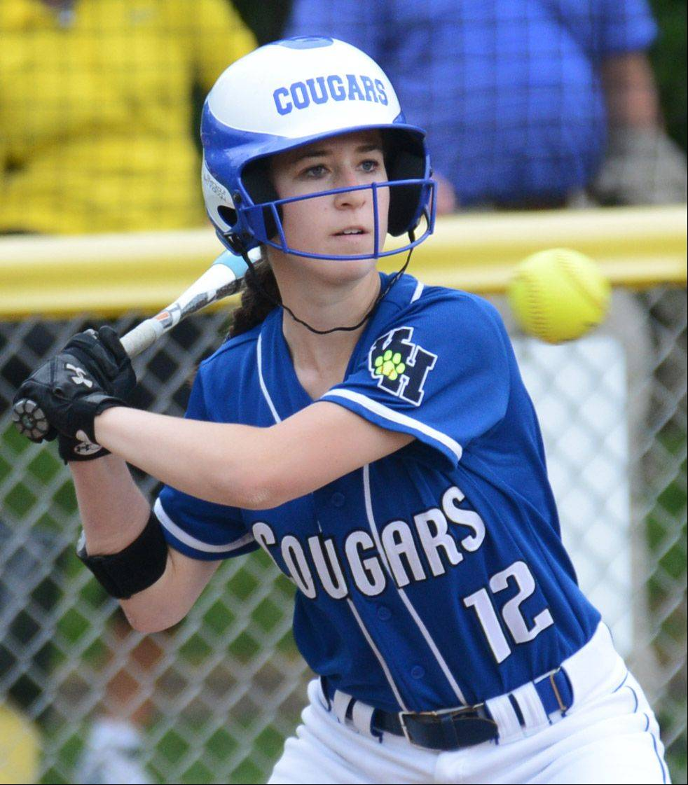 Vernon Hills' Danielle Comitor keeps a sharp eye on a Northside Prep pitch during Tuesday's Class 3A sectional semifinal game in Grayslake.