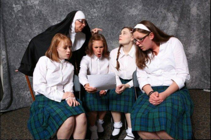 """Do Black Patent Leather Shoes Really Reflect Up?"" depicts the lives of Catholic school students in the 1950s and is the Kirk Players' first musical opening its 47th season. The cast includes, from left, Sarah Van Sickle, Sherry Fisher, Ben Johnson, Rebeccah VanSickle and Mandy Clark."