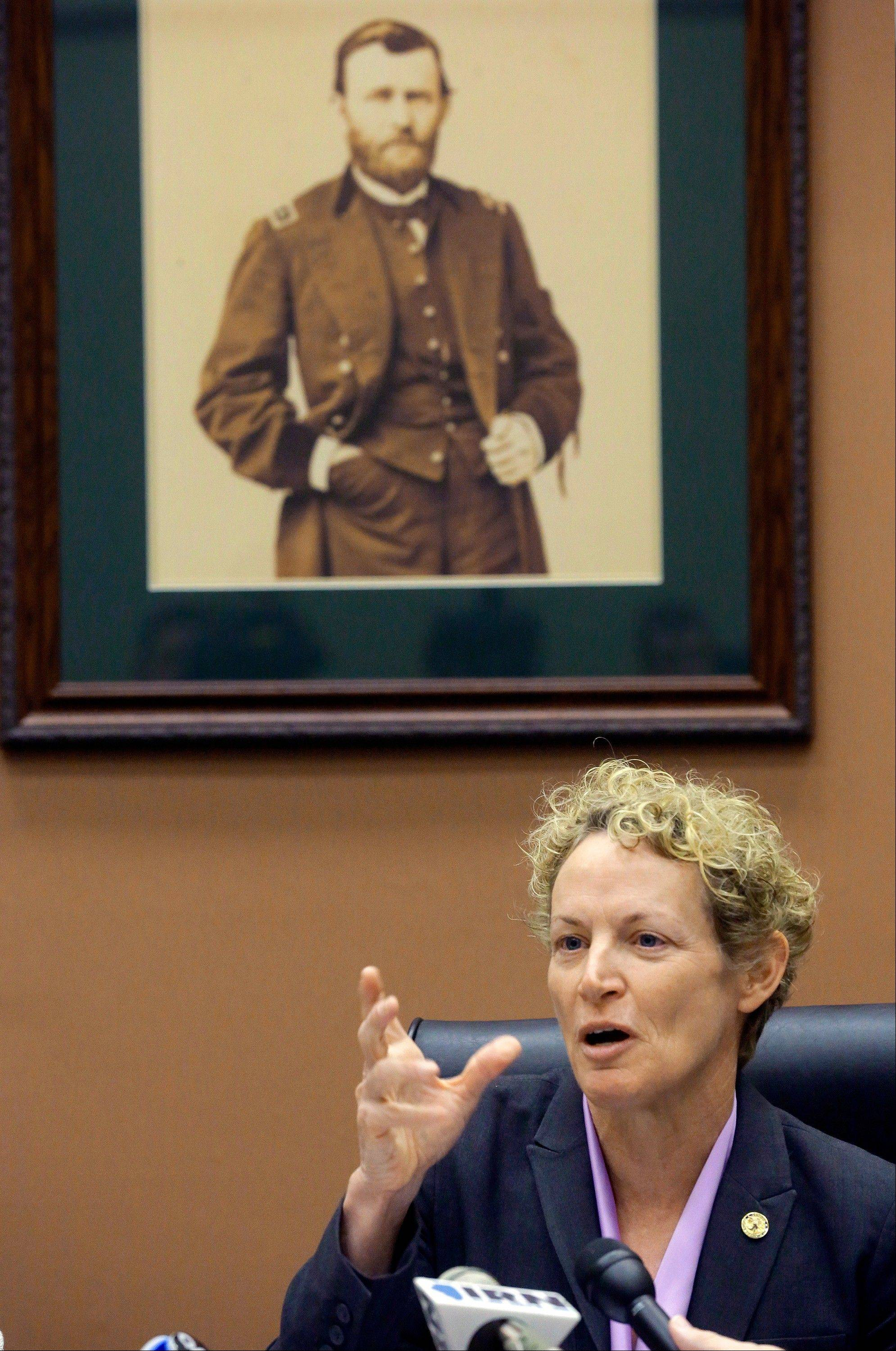 Rep. Elaine Nekritz, D-Buffalo Grove, speaks with reporters at the Illinois State Capitol Tuesday.