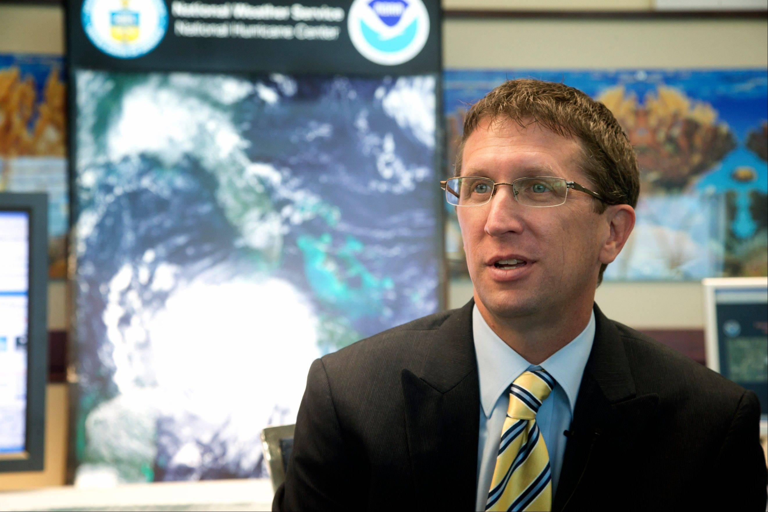 National Hurricane Center Director Rick Knabb talks in Fort Lauderdale, Fla., May 7. As the 2013 Atlantic Hurricasn season begins, forecasters are asking which computer model at predicting storms is best.