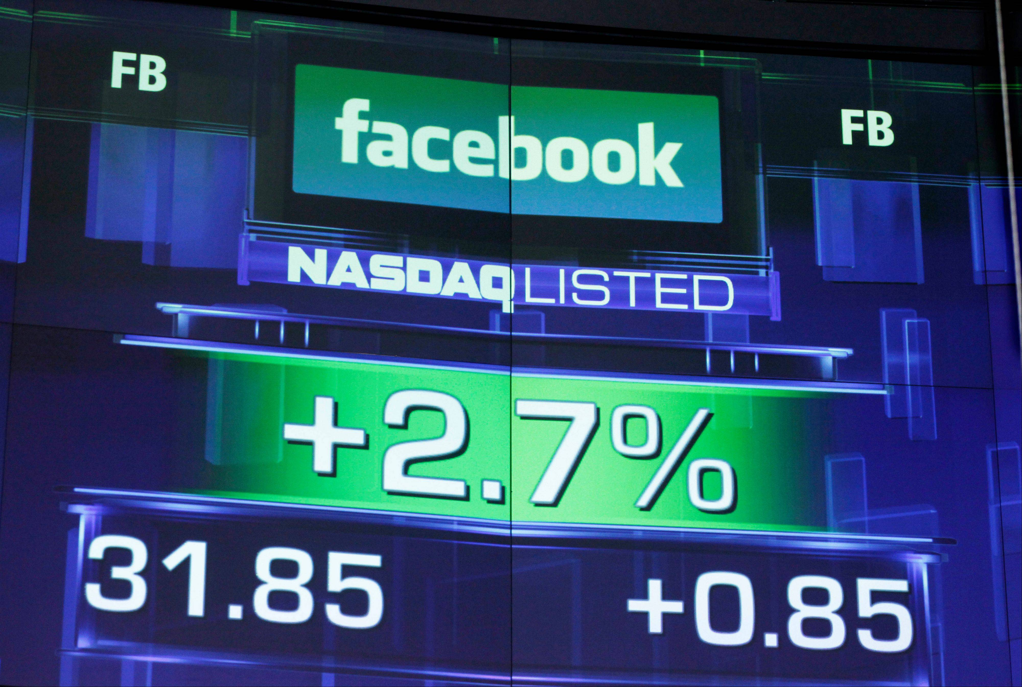 This May 23 file photo shows the pre-market price for Facebook at the Nasdaq MarketSite in New York.