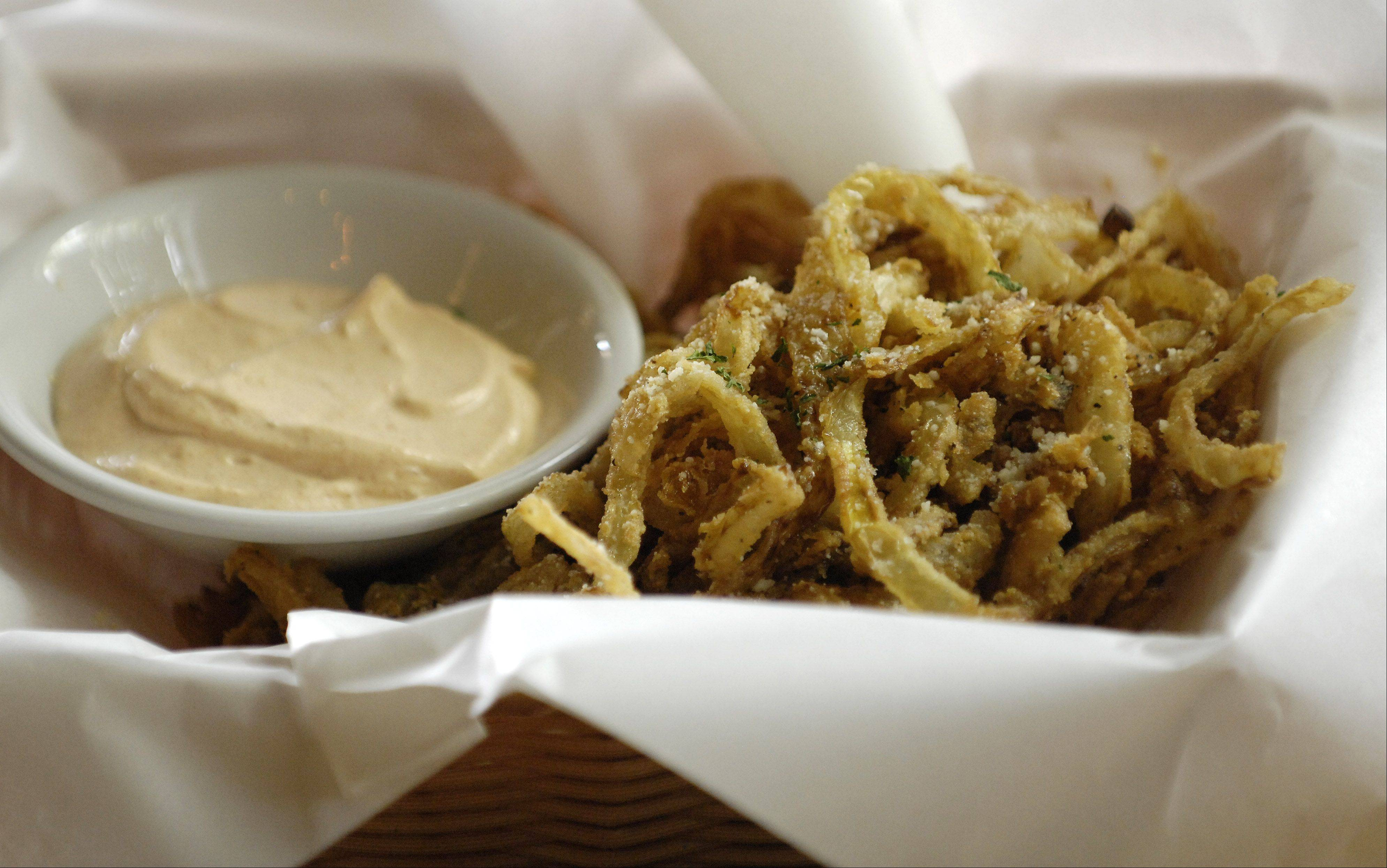 The Onion Loaf from the Filling Station in downtown St. Charles is a filling starter. Try it with ranch dip.