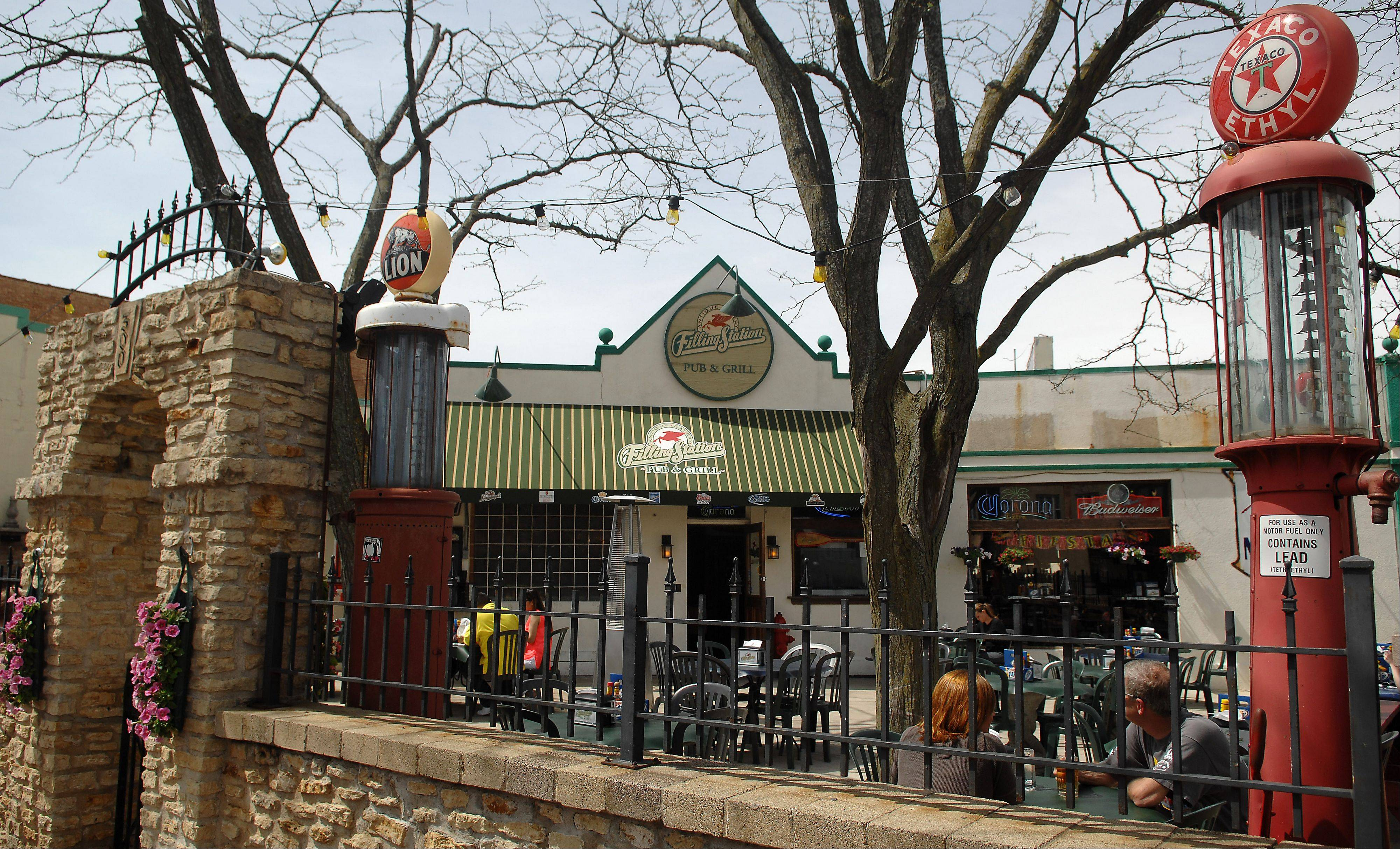The patio at the Filling Station in downtown St. Charles is a popular refueling spot along the Fox River.