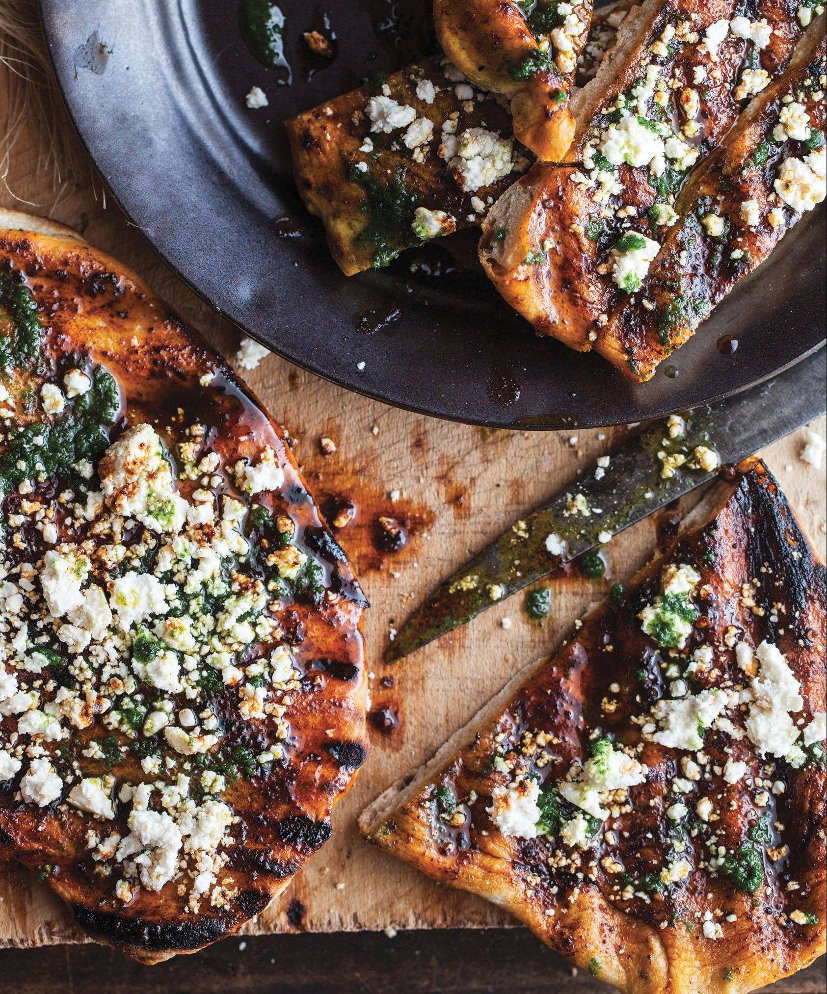 Grilled flatbread can be topped with your favorite cheese or wrapped around slices of grilled steak and vegetables.