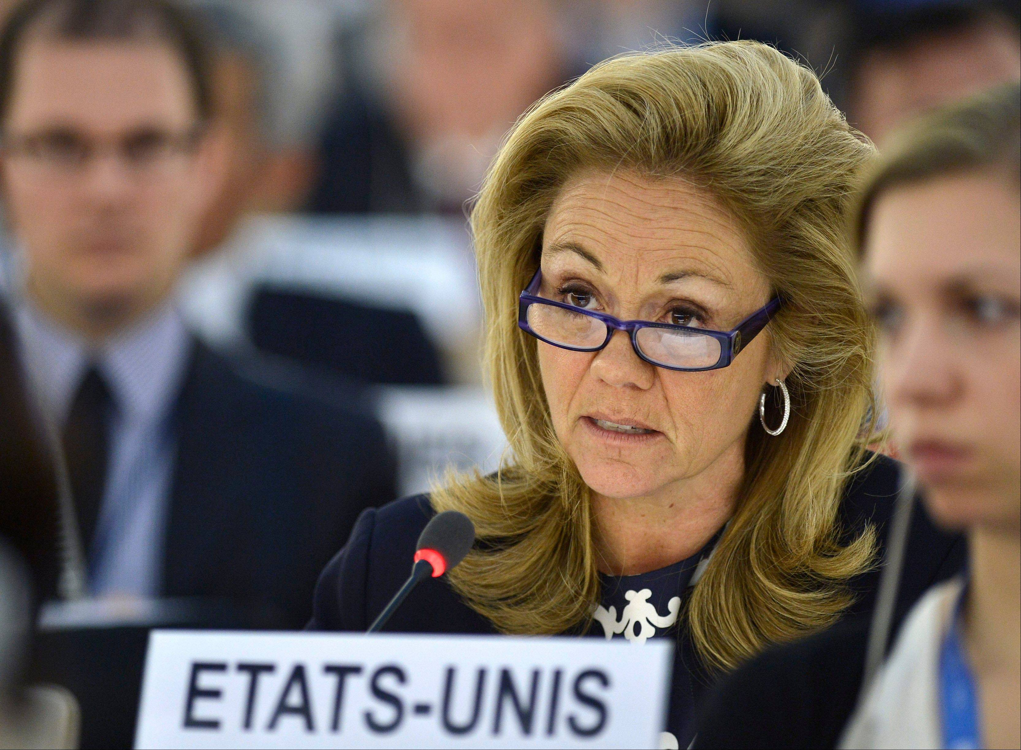 U.S. Ambassador and Representative to the Human Rights Council Eileen Chamberlain Donahoe speaks during the urgent debate on the situation in Syria at the 23rd session of the Human Rights Council at the European headquarters
