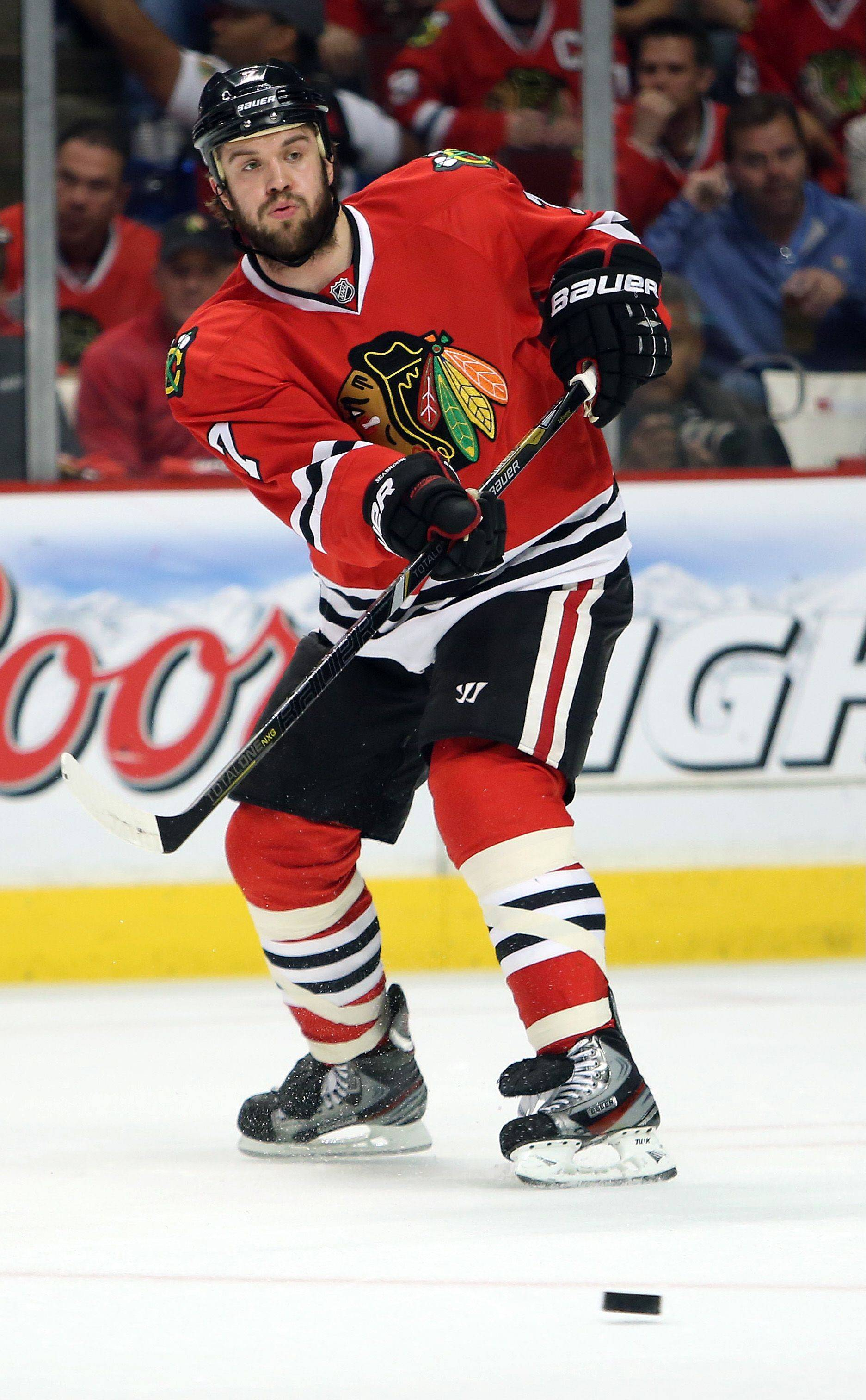 Steve Lundy/slundy@dailyherald.comVeteran defenseman Brent Seabrook had his ice time cut in half by the time Game 4 rolled around, but he stepped up big to deliver the game-winning goal for the Blackhawks Wednesday night.