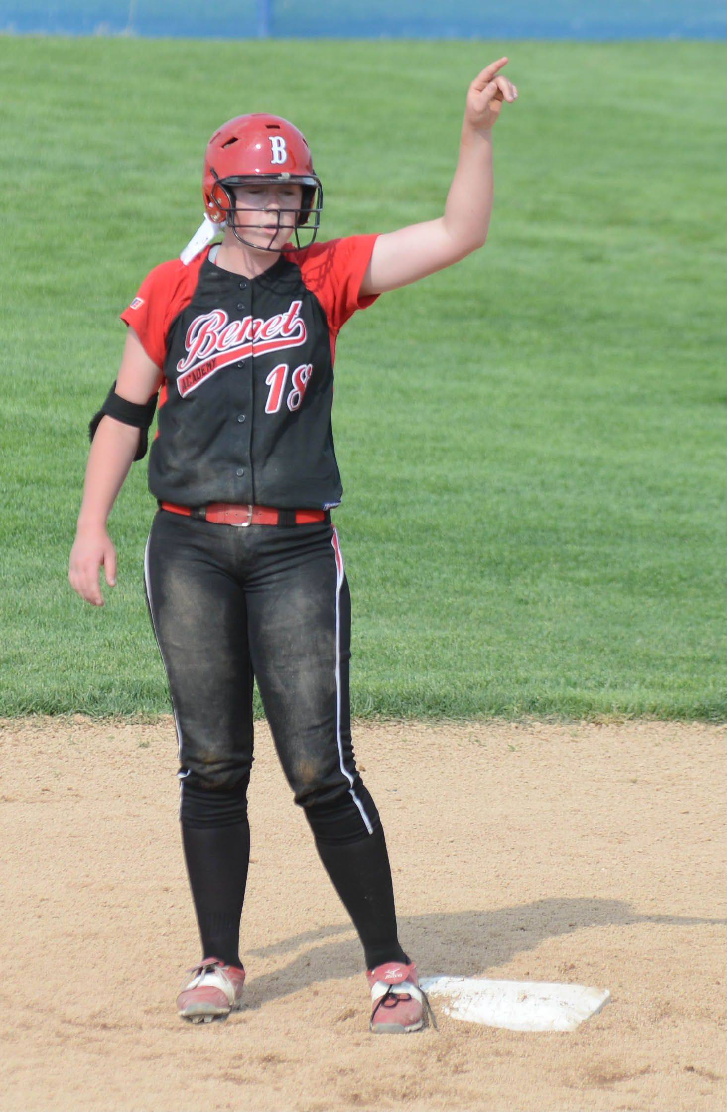 Maeve McGuire of Benet on second during the Class 4A Neuqua Valley sectional semifinals softball game Wednesday.