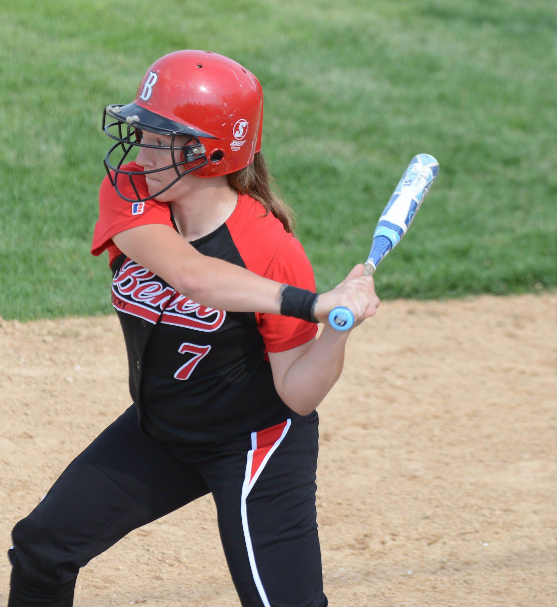 Stephanie Abello of Benet takes a cut during the Class 4A Neuqua Valley sectional semifinals softball game Wednesday.