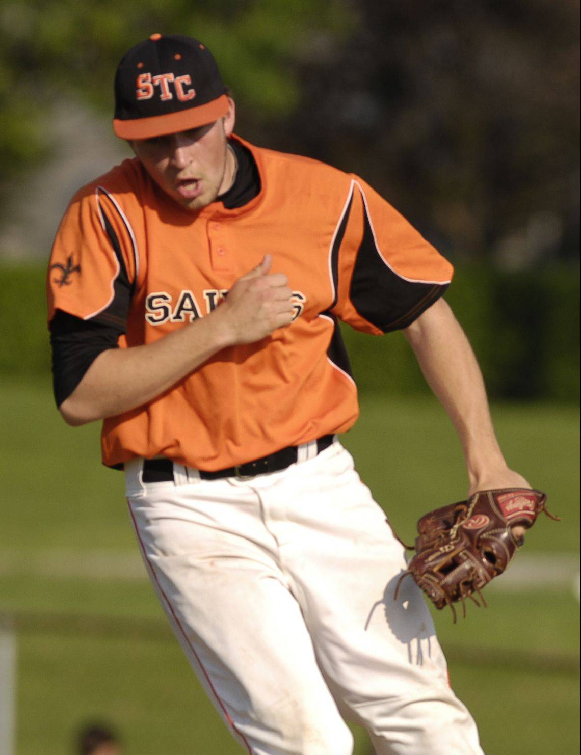 St. Charles East pitcher Matt Starai reacts to his strikeout that ended a 6-0 victory over Lake Park Wednesday in St. Charles.