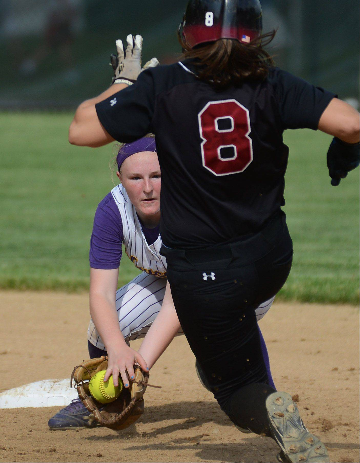 Wauconda shortstop Lauren Nee gets ready to tag Antioch's Kaylene Ressler as she heads into second base during Wednesday's Class 3A sectional semifinal game in Grayslake. Nee dropped the ball; Ressler was safe.