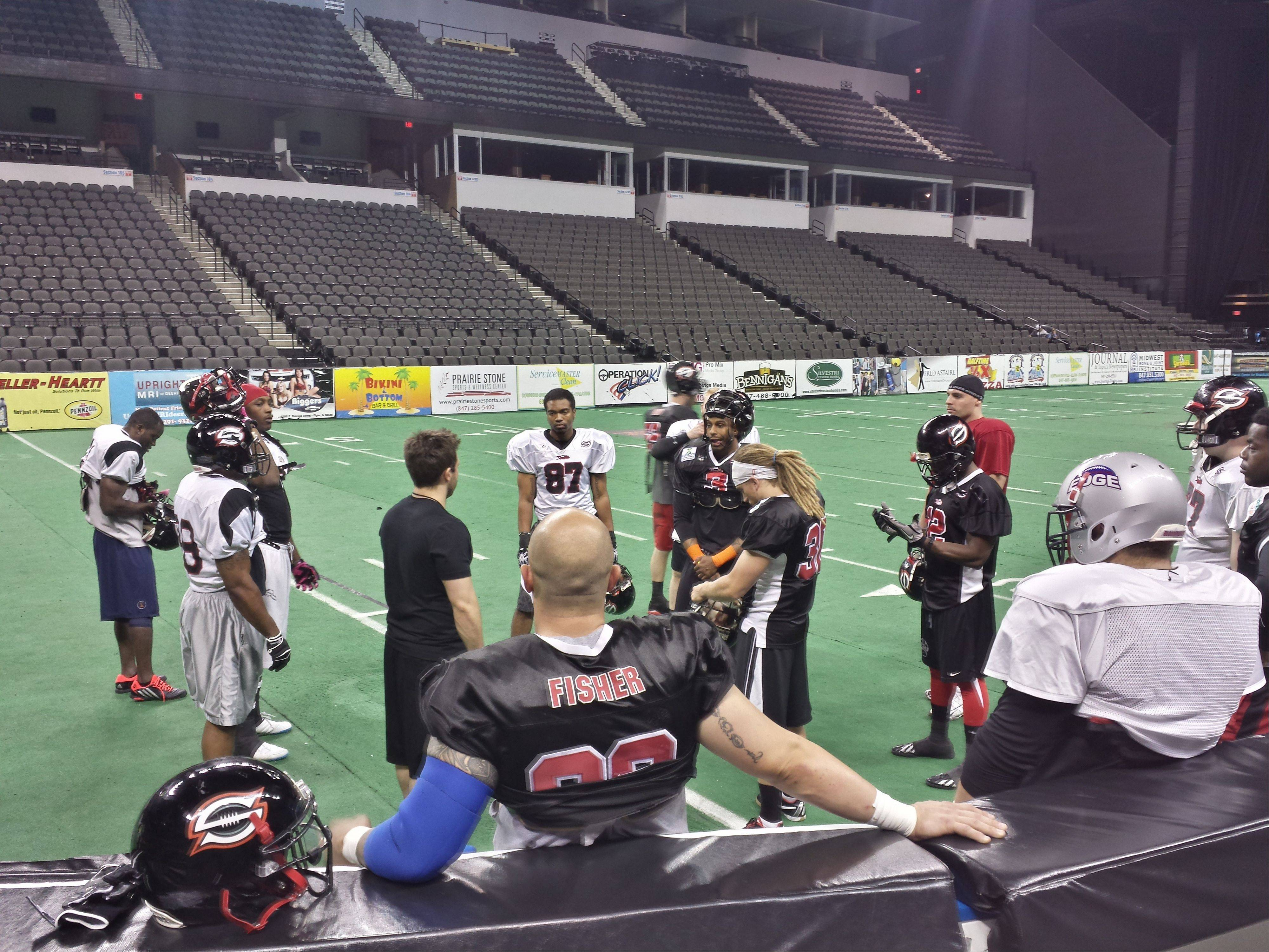 The Chicago Slaughter meet up and listen to what offensive coordinator Pat Pistorio has planned for practice before the team�s last home game. The Slaughter host the Green Bay Blizzard on Friday at 7:35 p.m. at Sears Centre Arena.