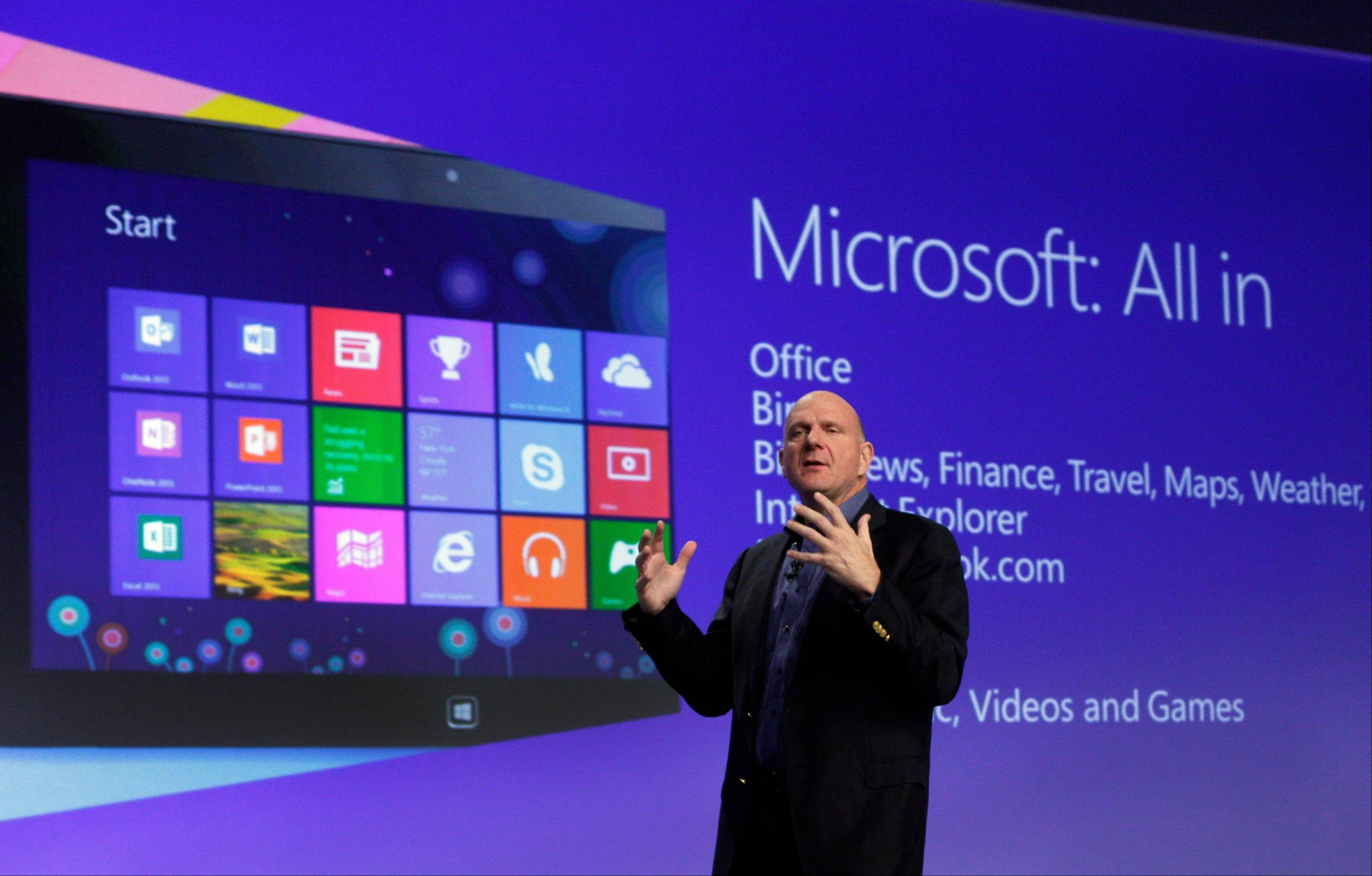 Microsoft CEO Steve Ballmer gives his presentation at the launch of Microsoft Windows 8 in New York in this Oct. 25, 2012, file photo. Microsoft is retooling the latest version of its Windows operating system to address complaints.