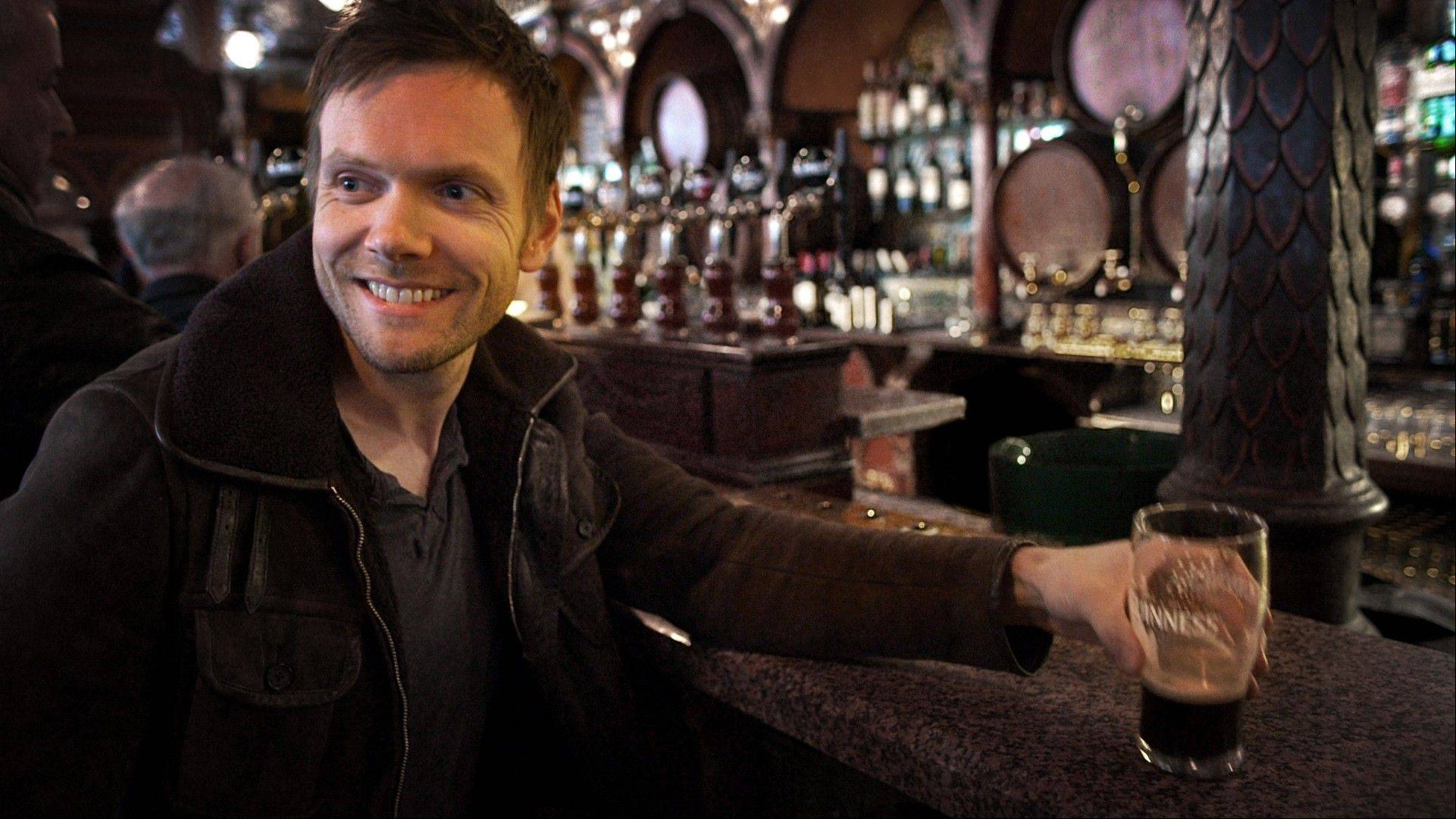 "Joel McHale, here at a pub in Belfast, Ireland, will be hosting the series ""The Getaway"" on the new Esquire Network."
