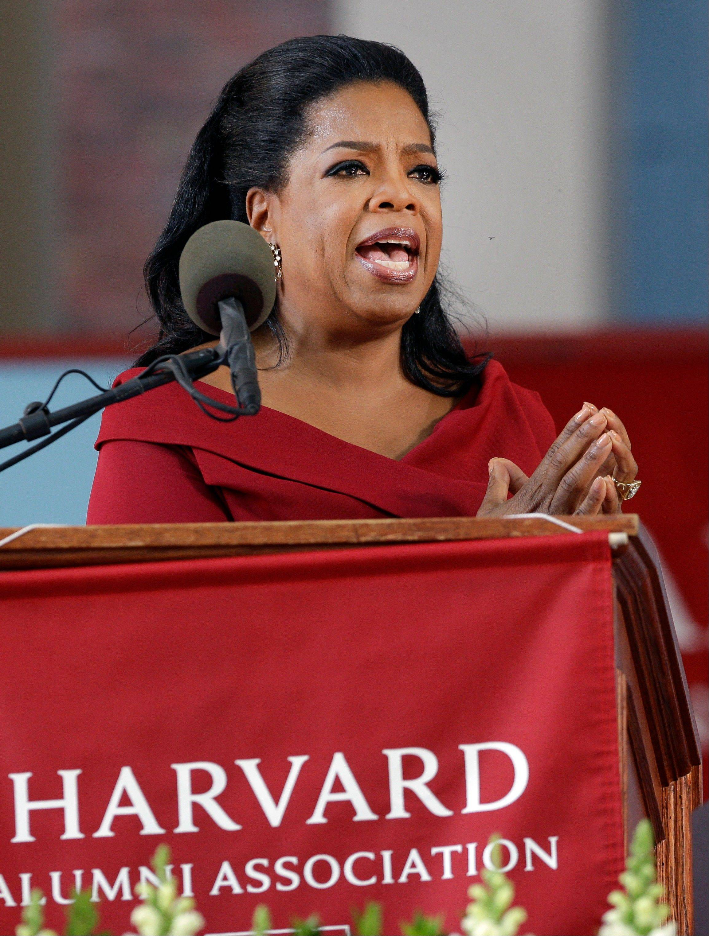 Oprah Winfrey speaks during Harvard University's commencement ceremonies Thursday in Cambridge, Mass.