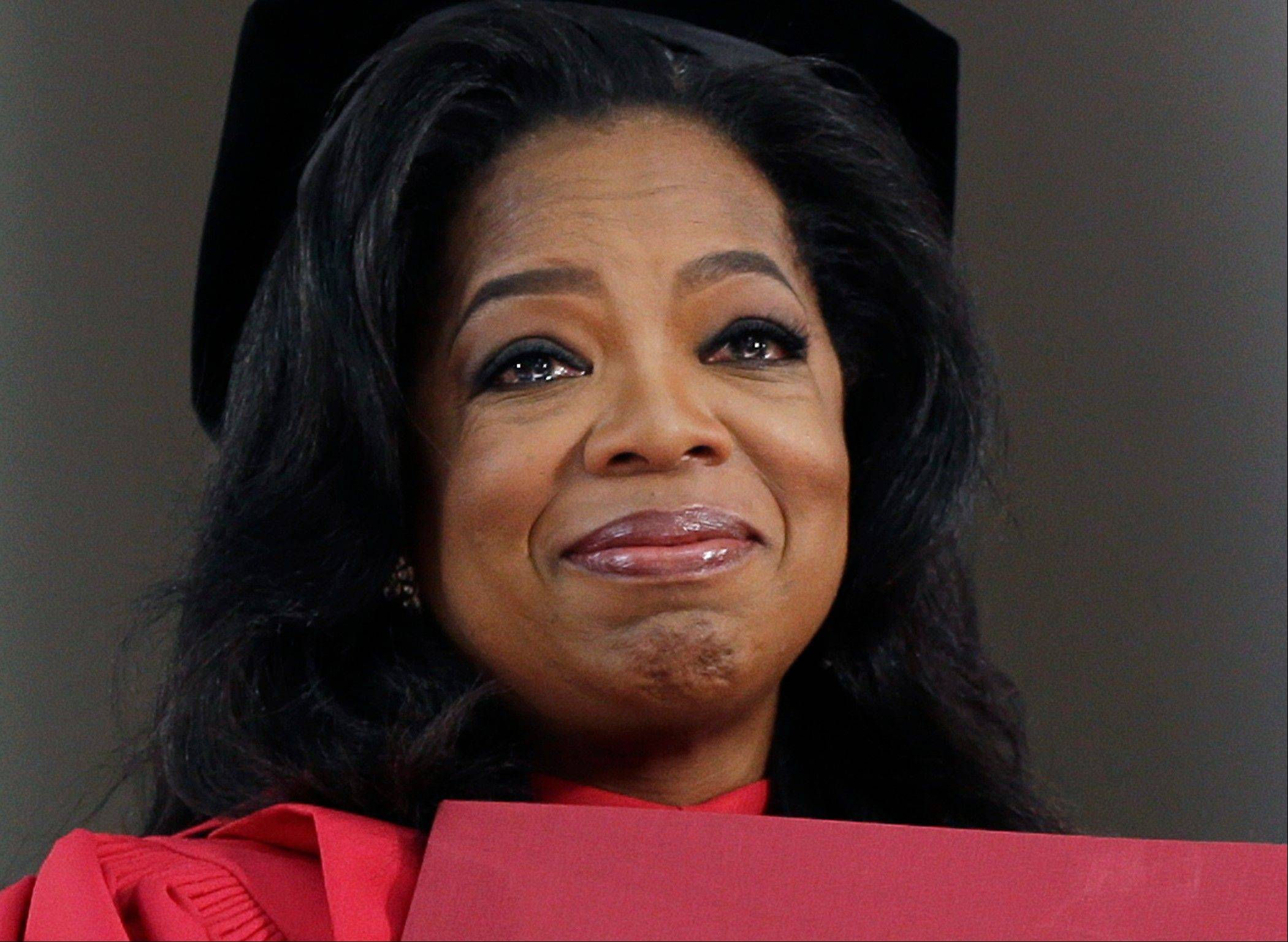 Oprah Winfrey tearfully accepted an honorary Doctor of Laws degree from Harvard University on Thursday.