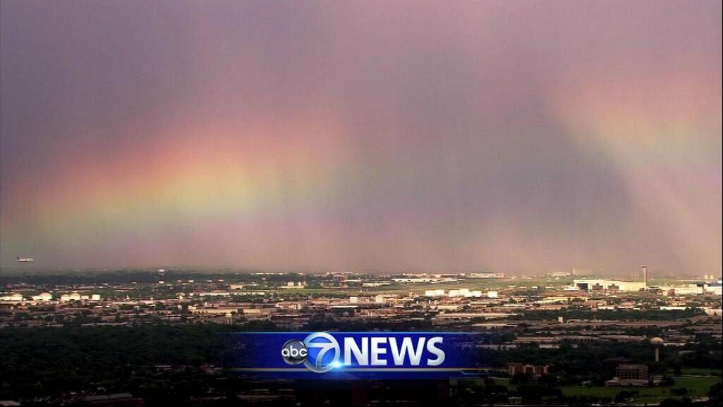 ABC 7's Chopper 7 caught this rainbow over O'Hare International Airport Friday afternoon.