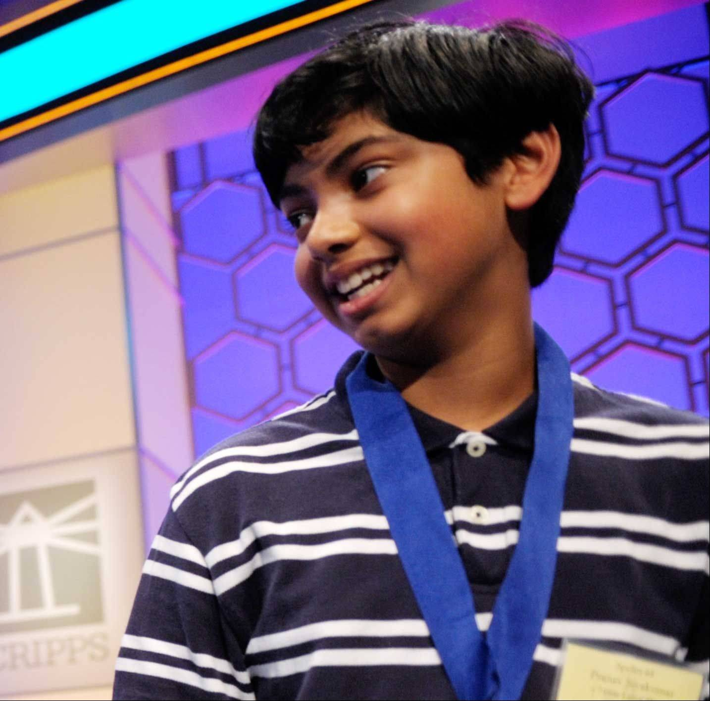 Pranav Sivakumar, 13, of Tower Lakes, placed second in the 86th Scripps National Spelling Bee Thursday night.
