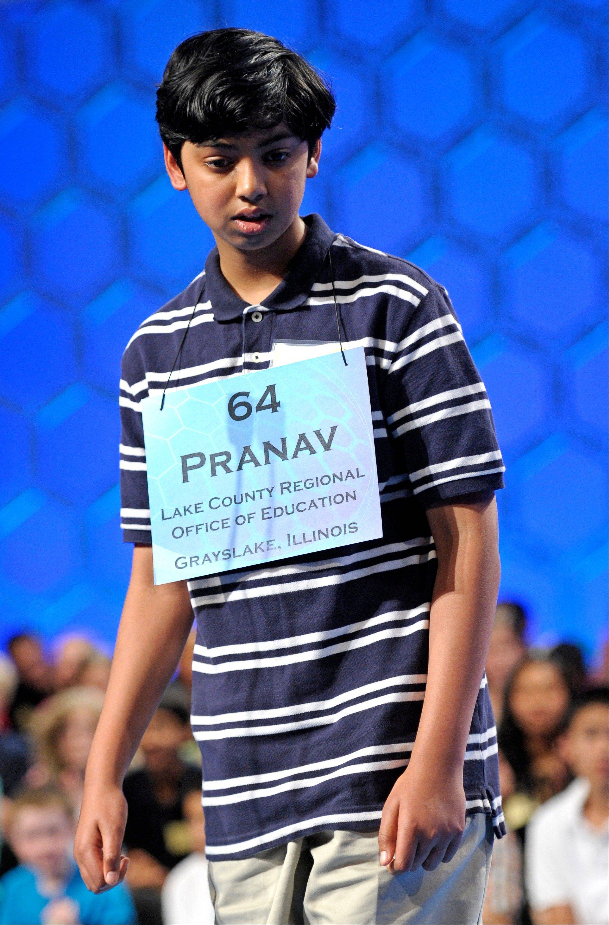 Pranav Sivakumar, 13, of Tower Lakes reacts to incorrectly spelling his final word during the final round of the Scripps National Spelling Bee in Oxon Hill, Md.